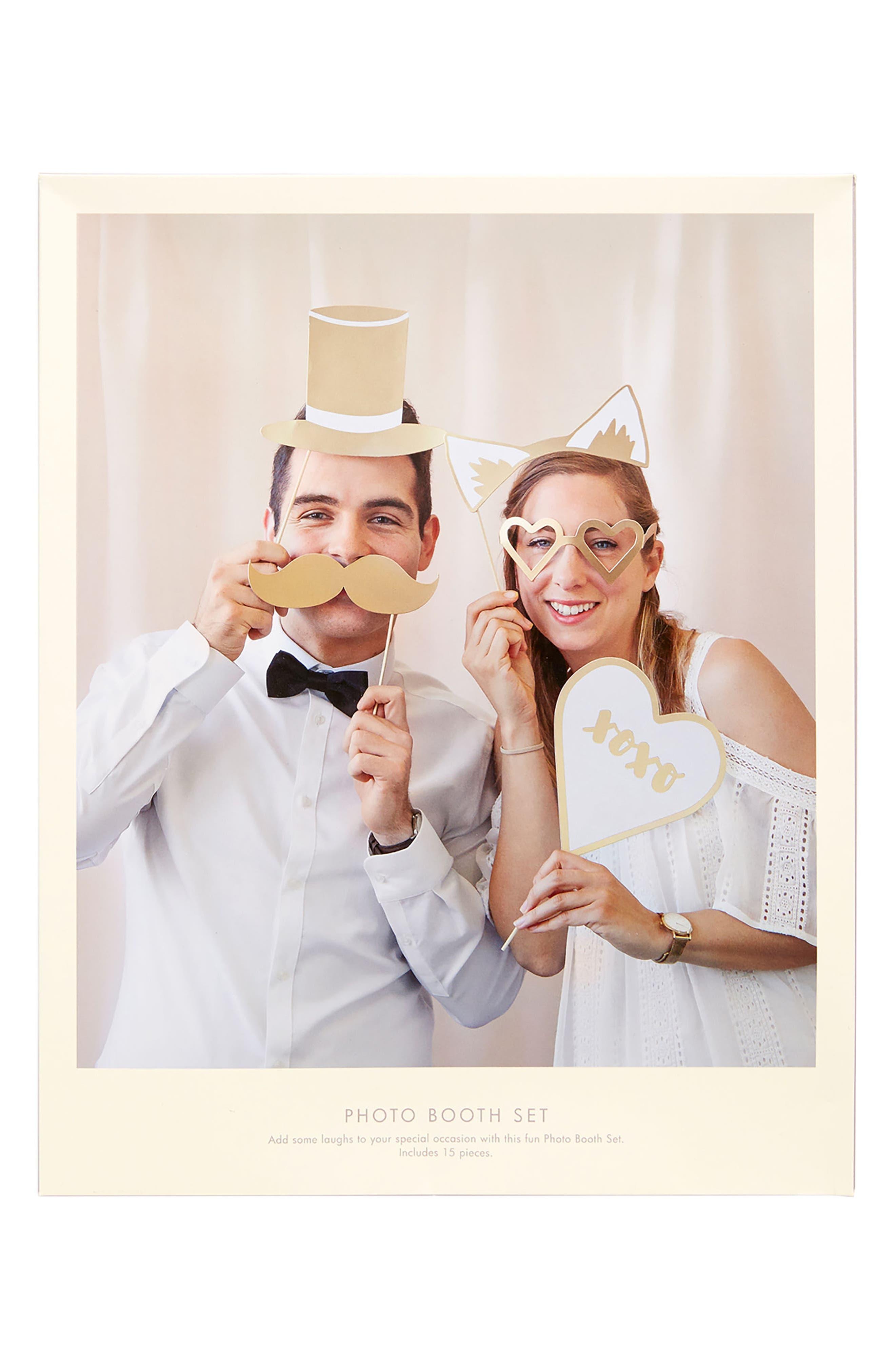 15-Piece Wedding Photo Booth Prop Set,                             Alternate thumbnail 2, color,                             White