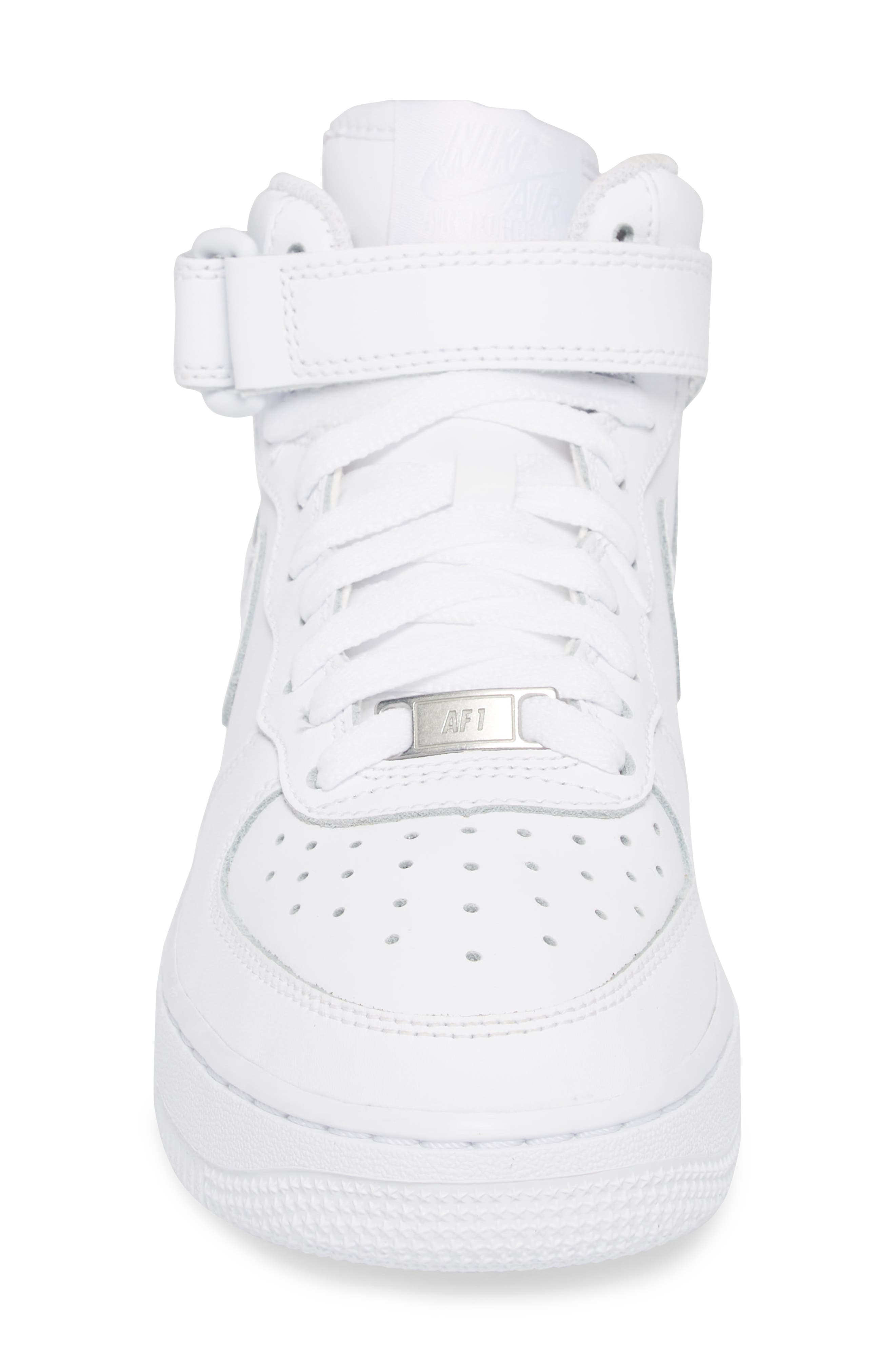 Air Force 1 Mid Top Sneaker,                             Alternate thumbnail 4, color,                             White