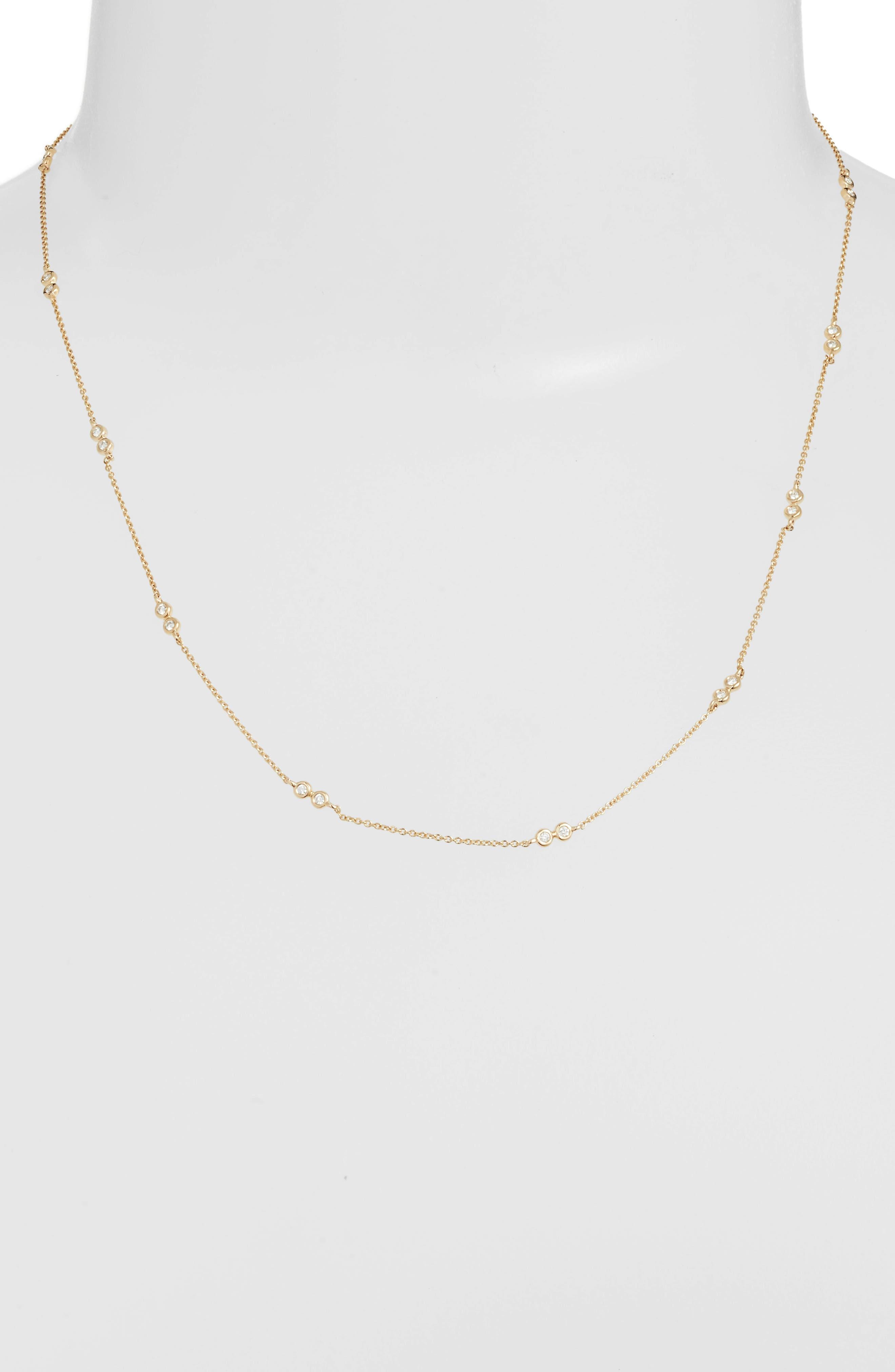 Lulu Jack Diamond Station Necklace,                             Alternate thumbnail 2, color,                             Yellow Gold