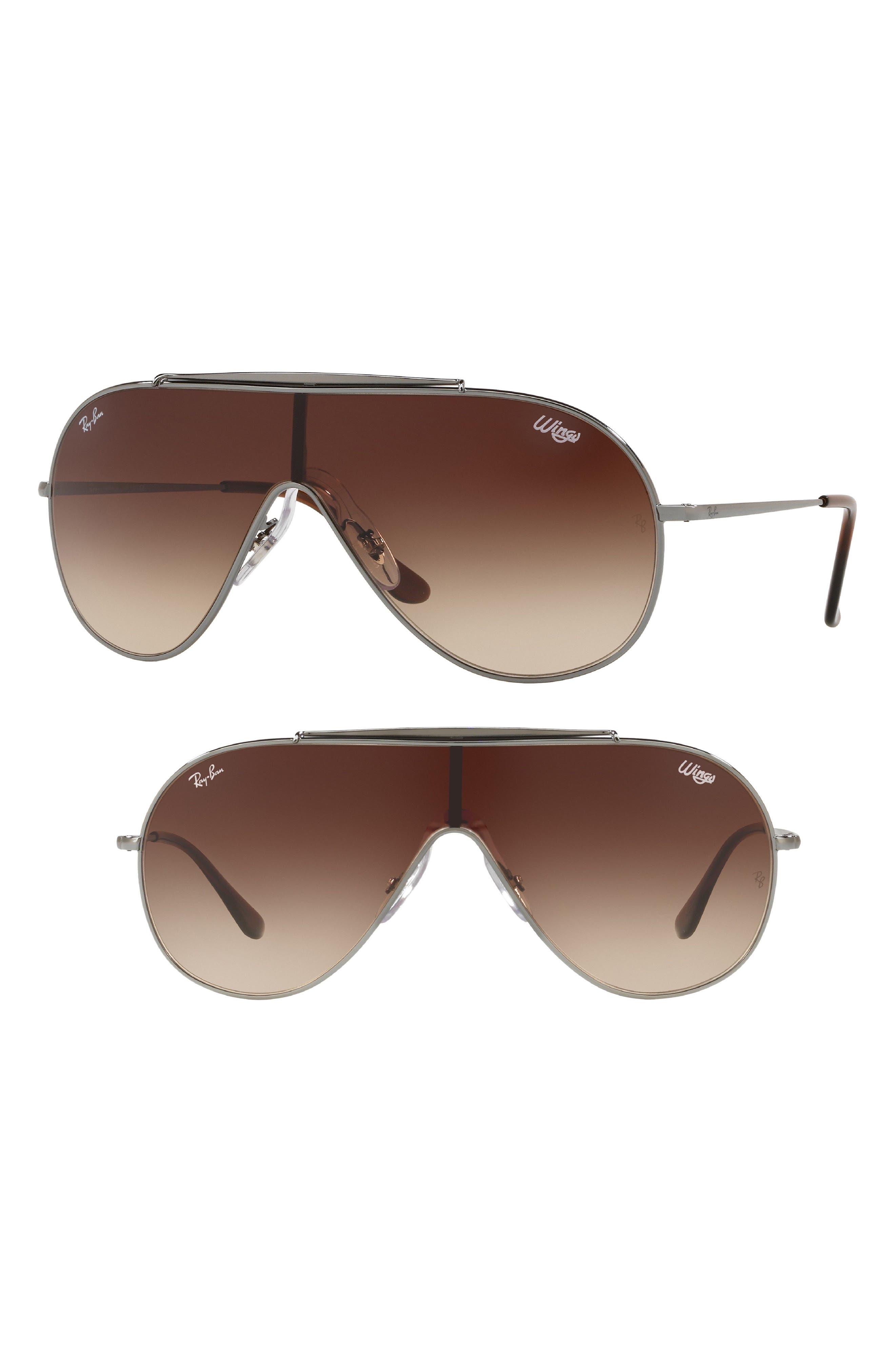 133mm Shield Sunglasses,                             Main thumbnail 1, color,                             Gunmetal Gradient