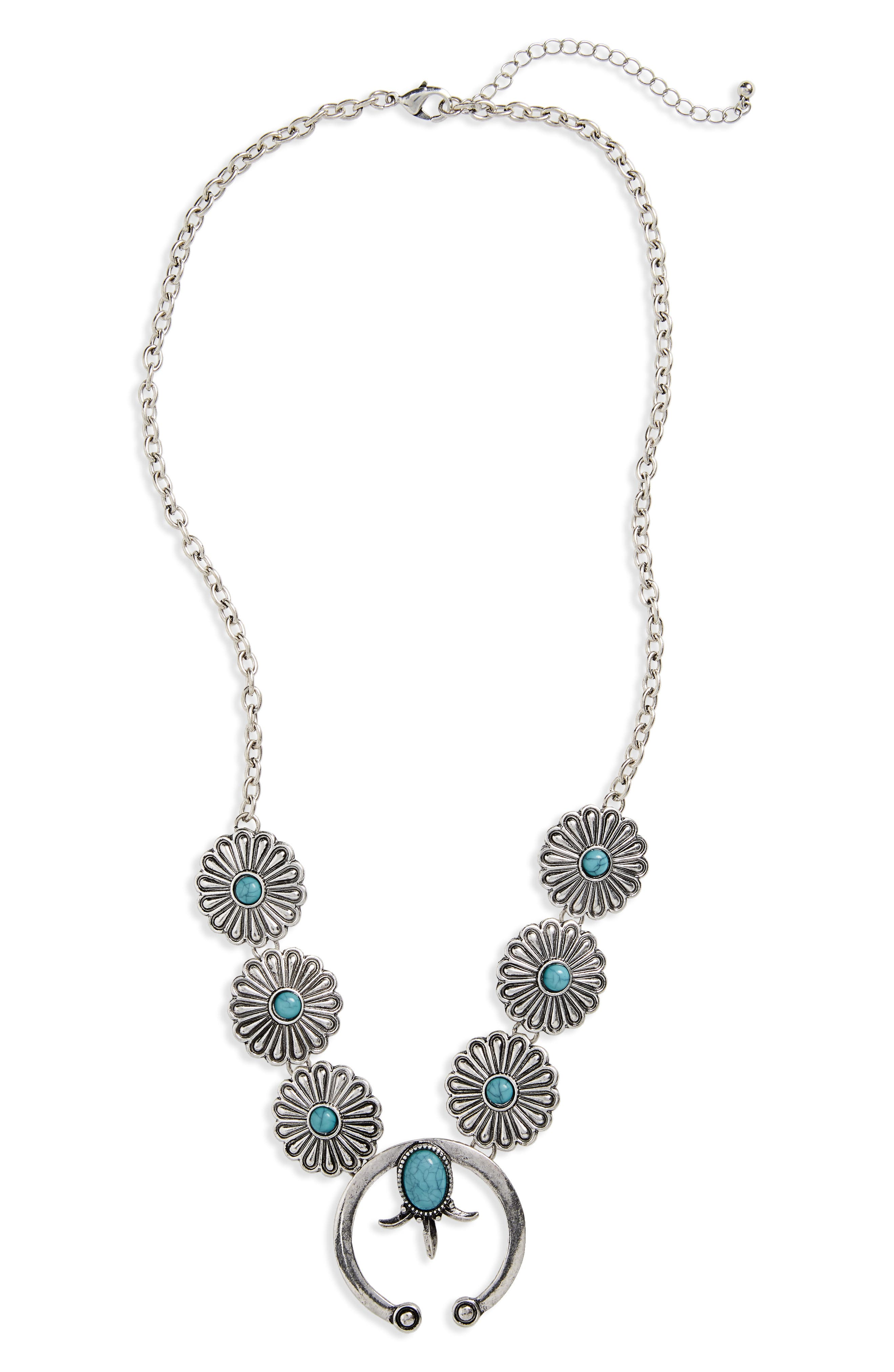 Western Floral Chain Necklace,                             Main thumbnail 1, color,                             Silver/ Turquoise