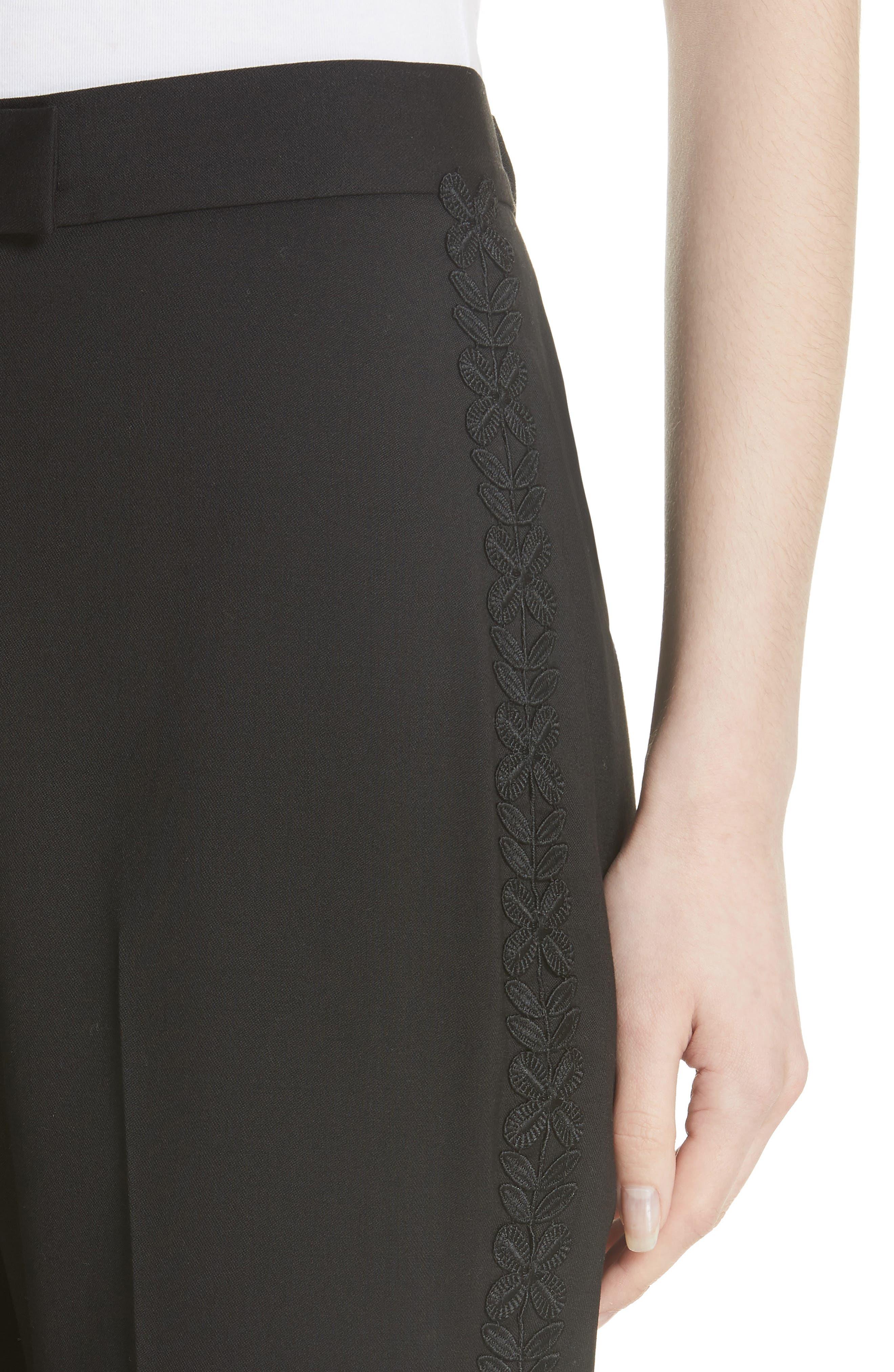 Flower Trim Italian Stretch Wool Pants,                             Alternate thumbnail 4, color,                             Black