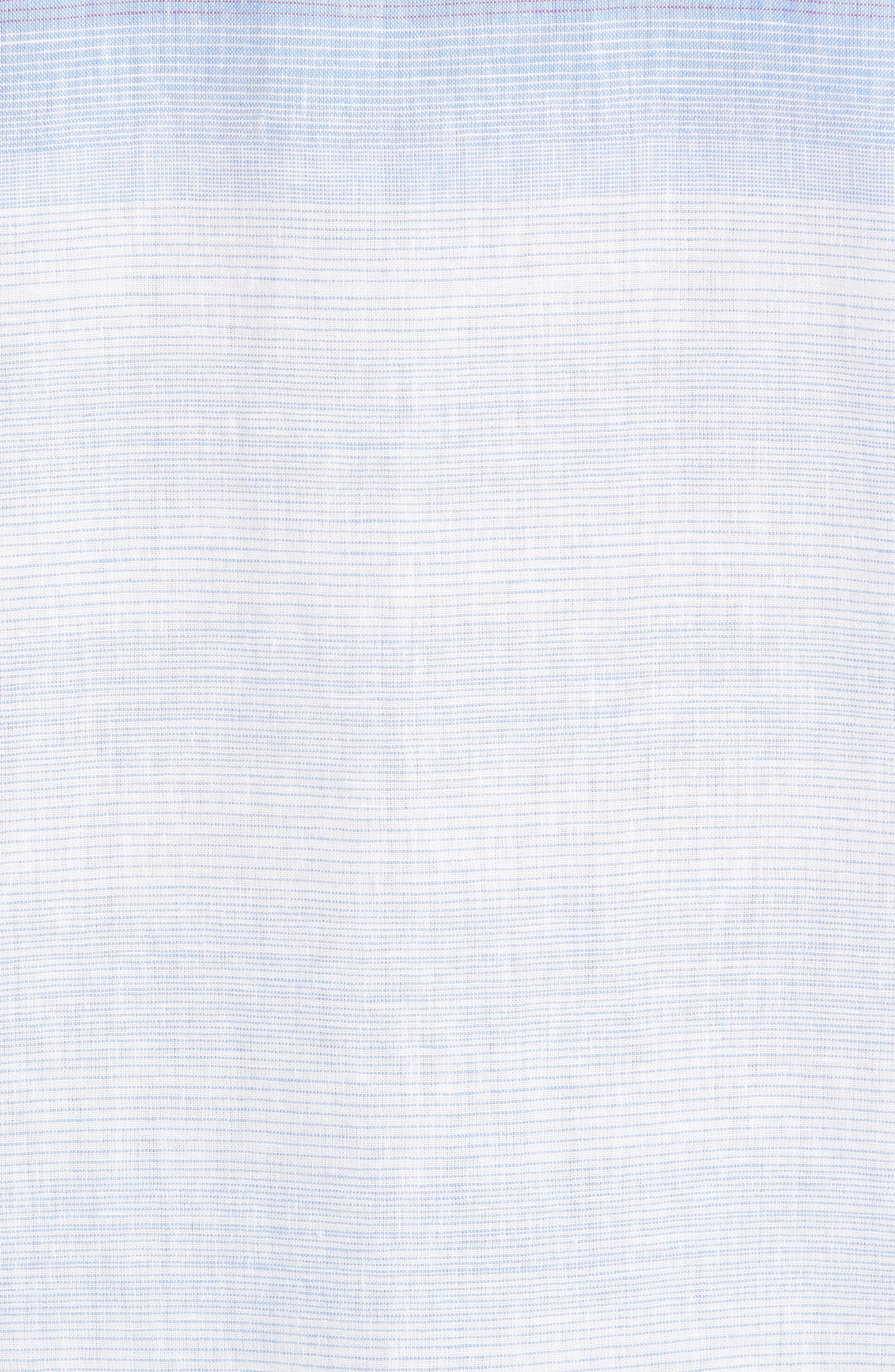 Sunset Ombré Linen Blend Sport Shirt,                             Alternate thumbnail 5, color,                             White