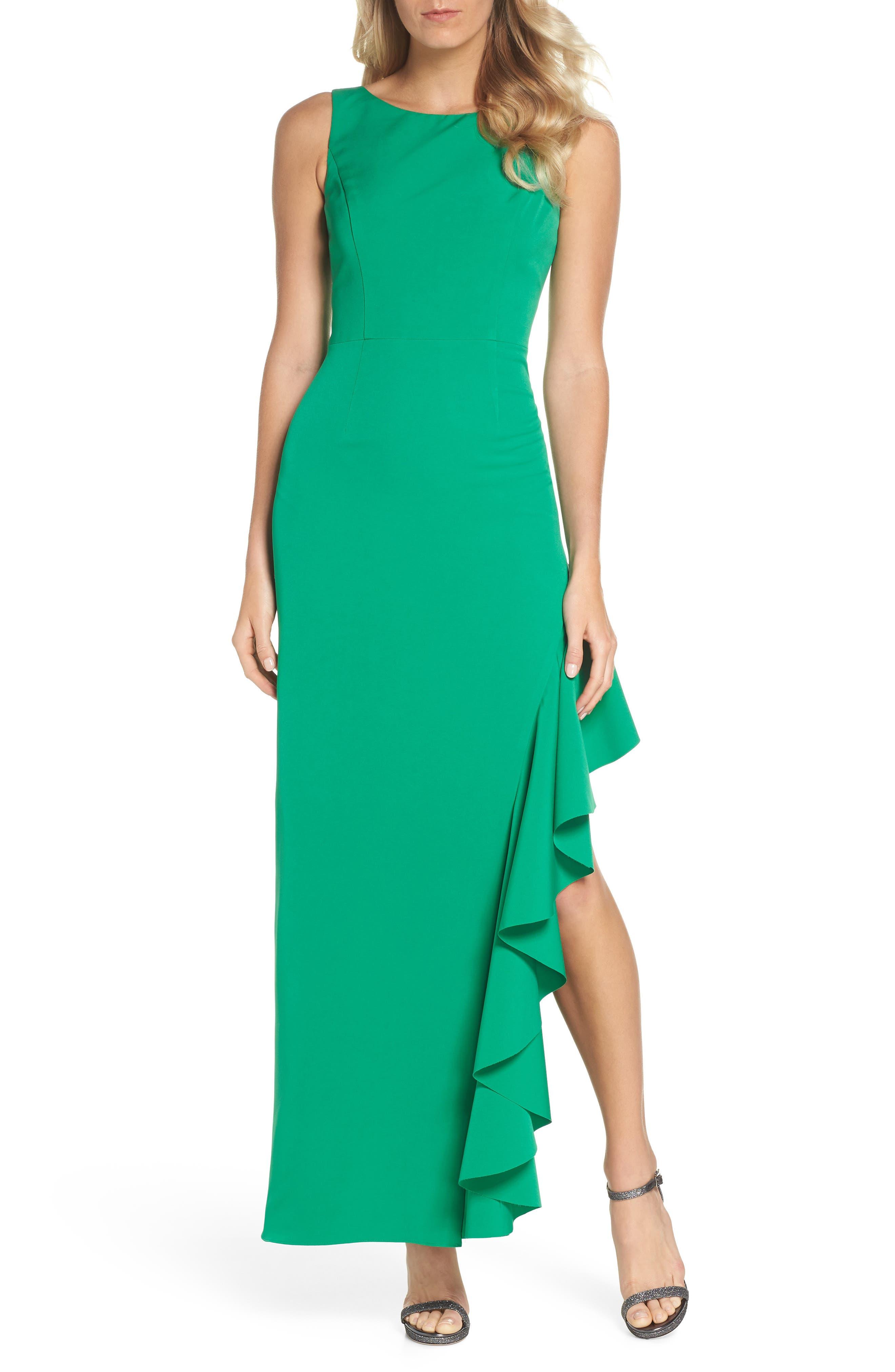 Ruffle Gown,                             Main thumbnail 1, color,                             Green