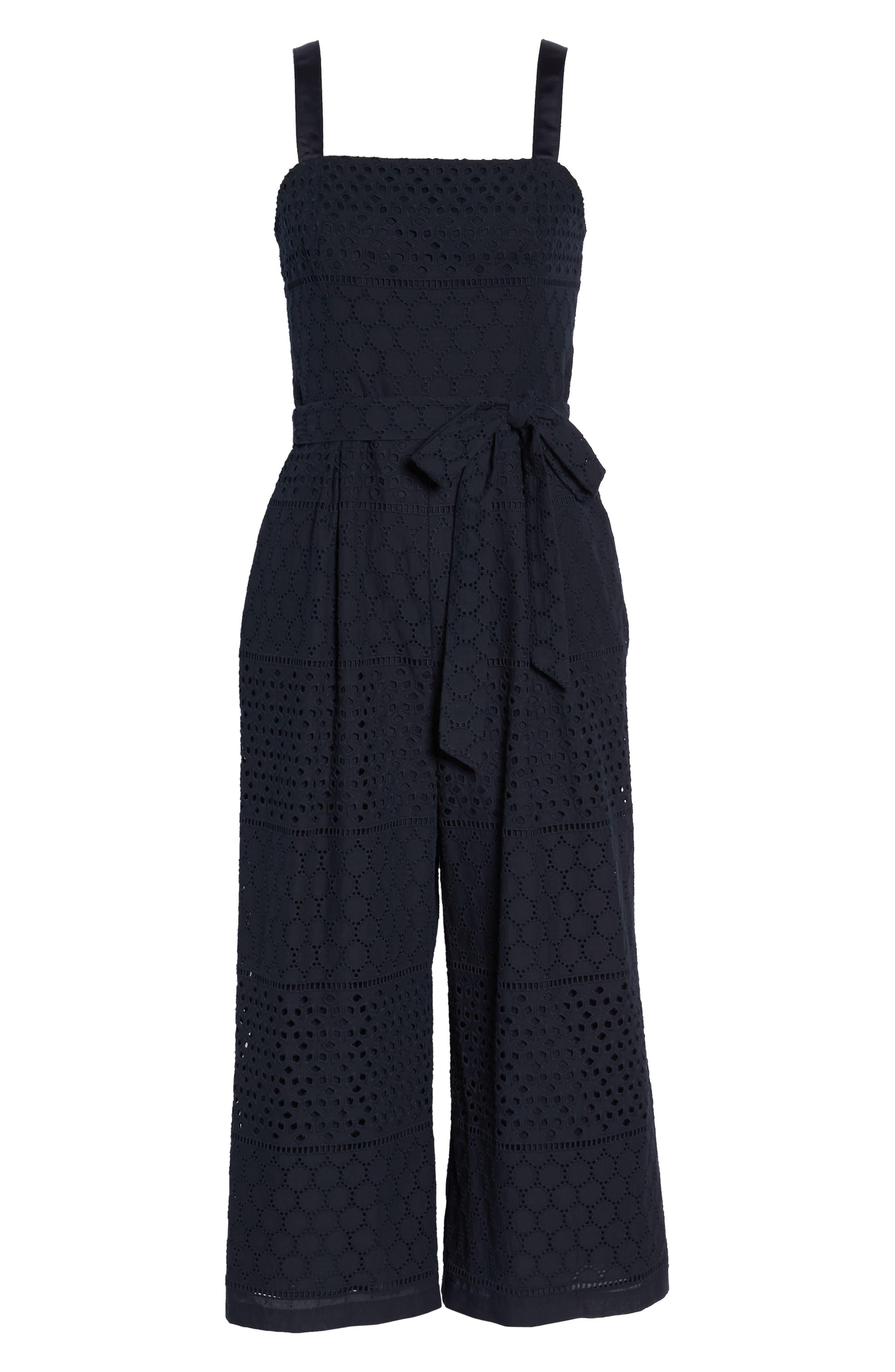 Ribbon Strap Cotton Jumpsuit,                             Alternate thumbnail 7, color,                             Navy