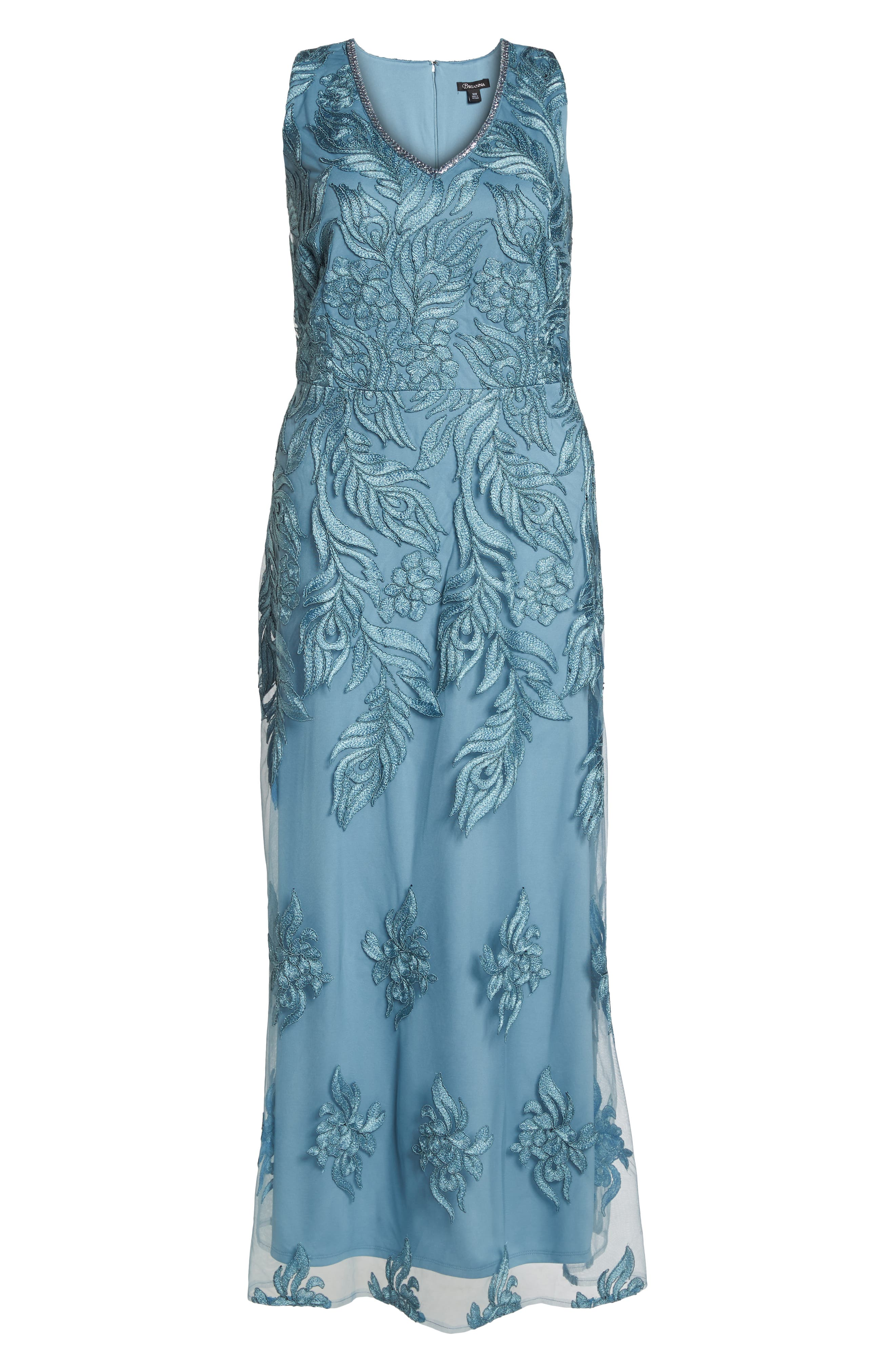 Beaded V-Neck Embroidered Mesh Gown,                             Alternate thumbnail 6, color,                             Seabreeze
