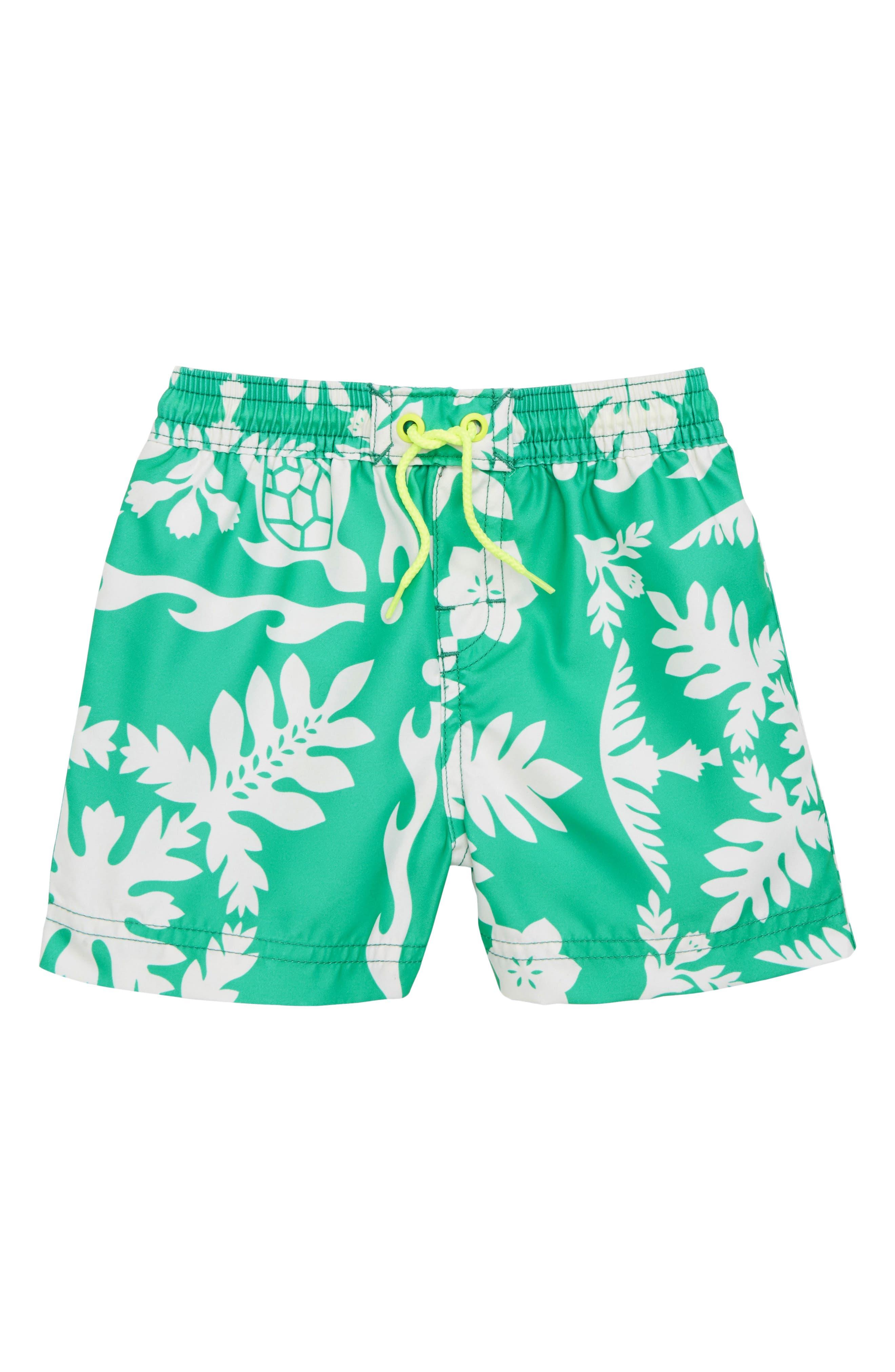 Print Swim Trunks,                         Main,                         color, Green Pop Hawaiian Quilt