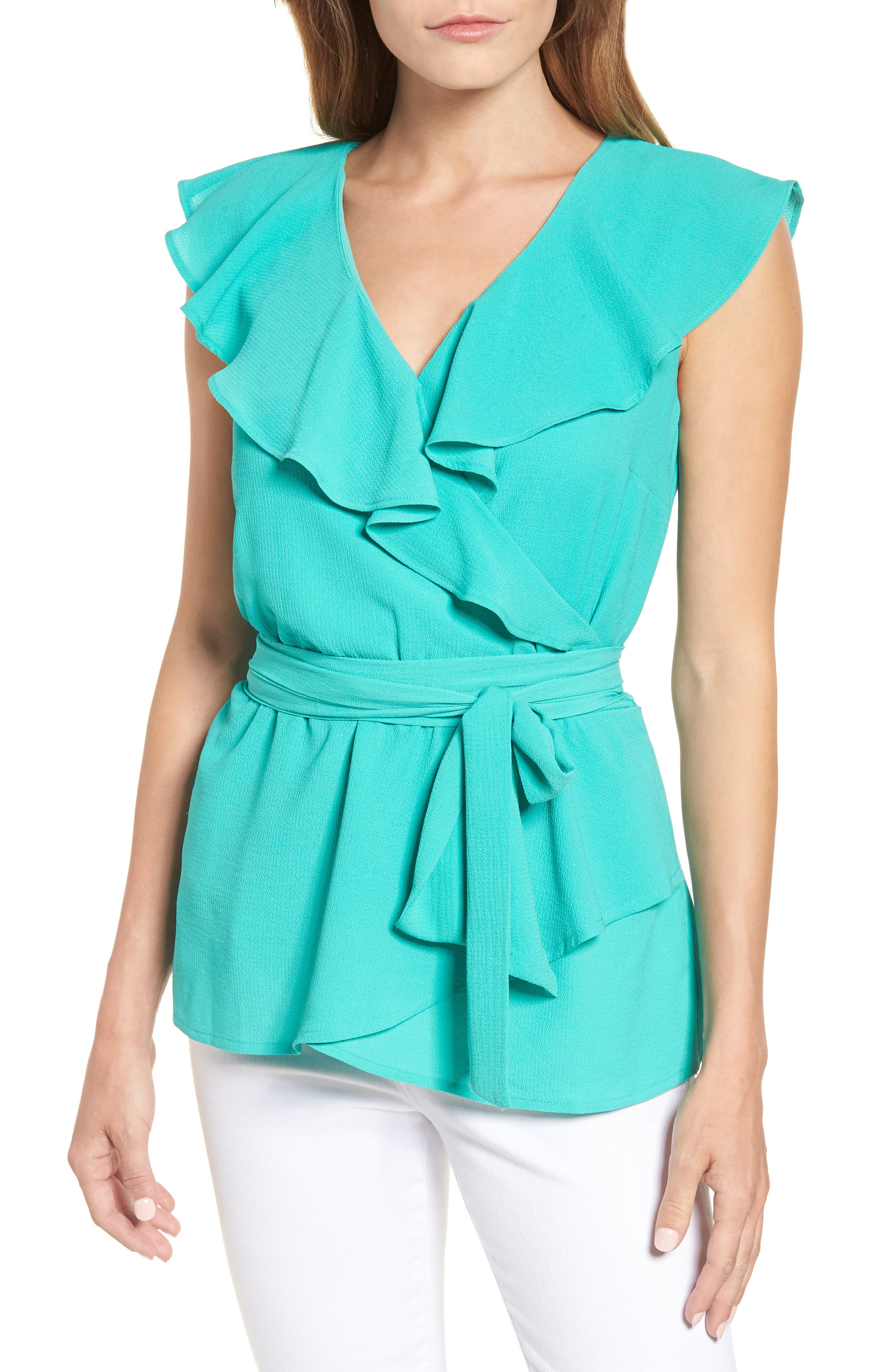 Halogen® Ruffled Tie Waist Top (Regular & Petite)