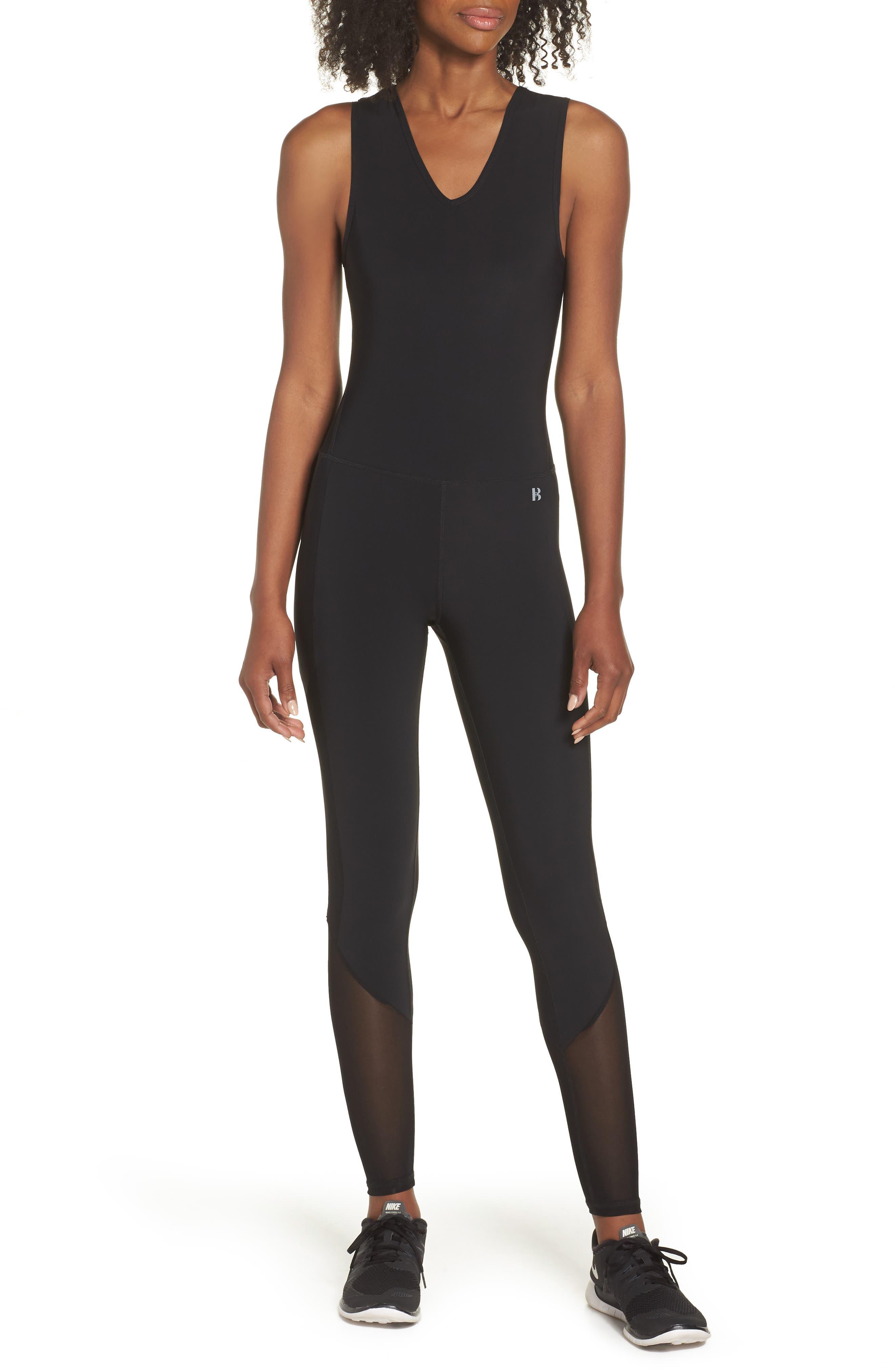 Performance Mesh Panel Jumpsuit,                         Main,                         color, Black