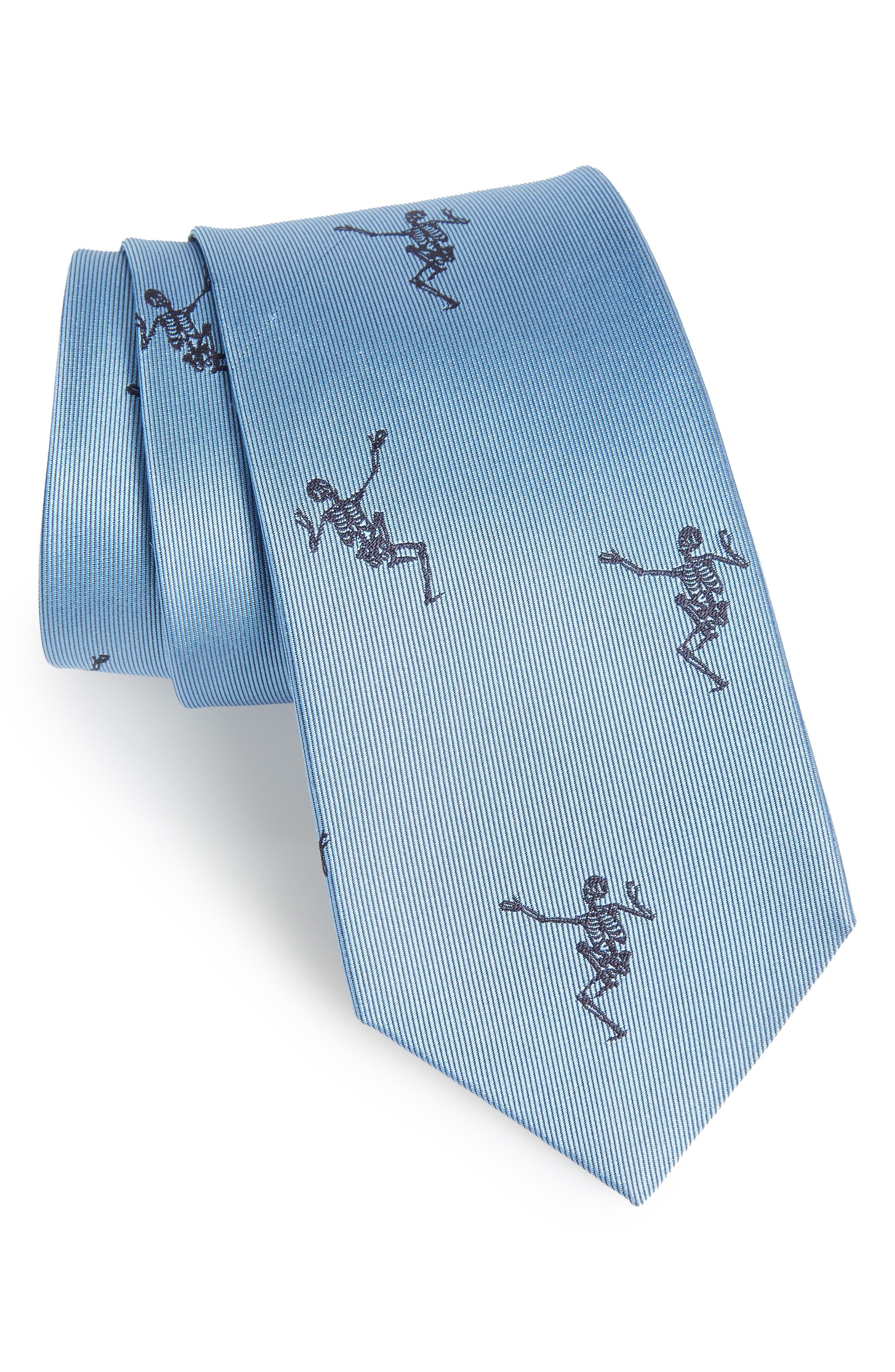 Dancing Skeleton Silk Tie,                         Main,                         color, Sky Blue