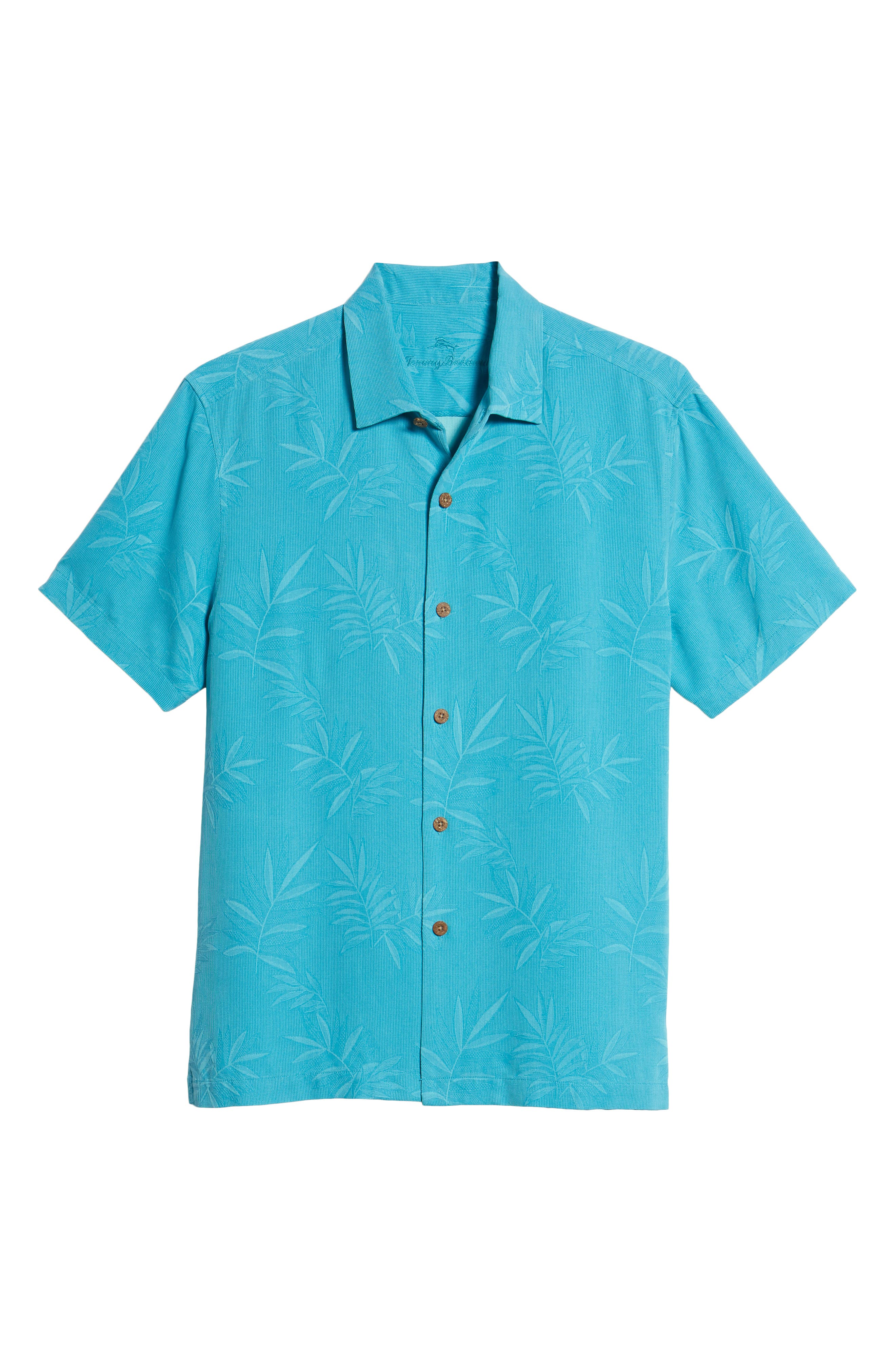 Luau Floral Silk Shirt,                             Alternate thumbnail 6, color,                             Pool Party Blue