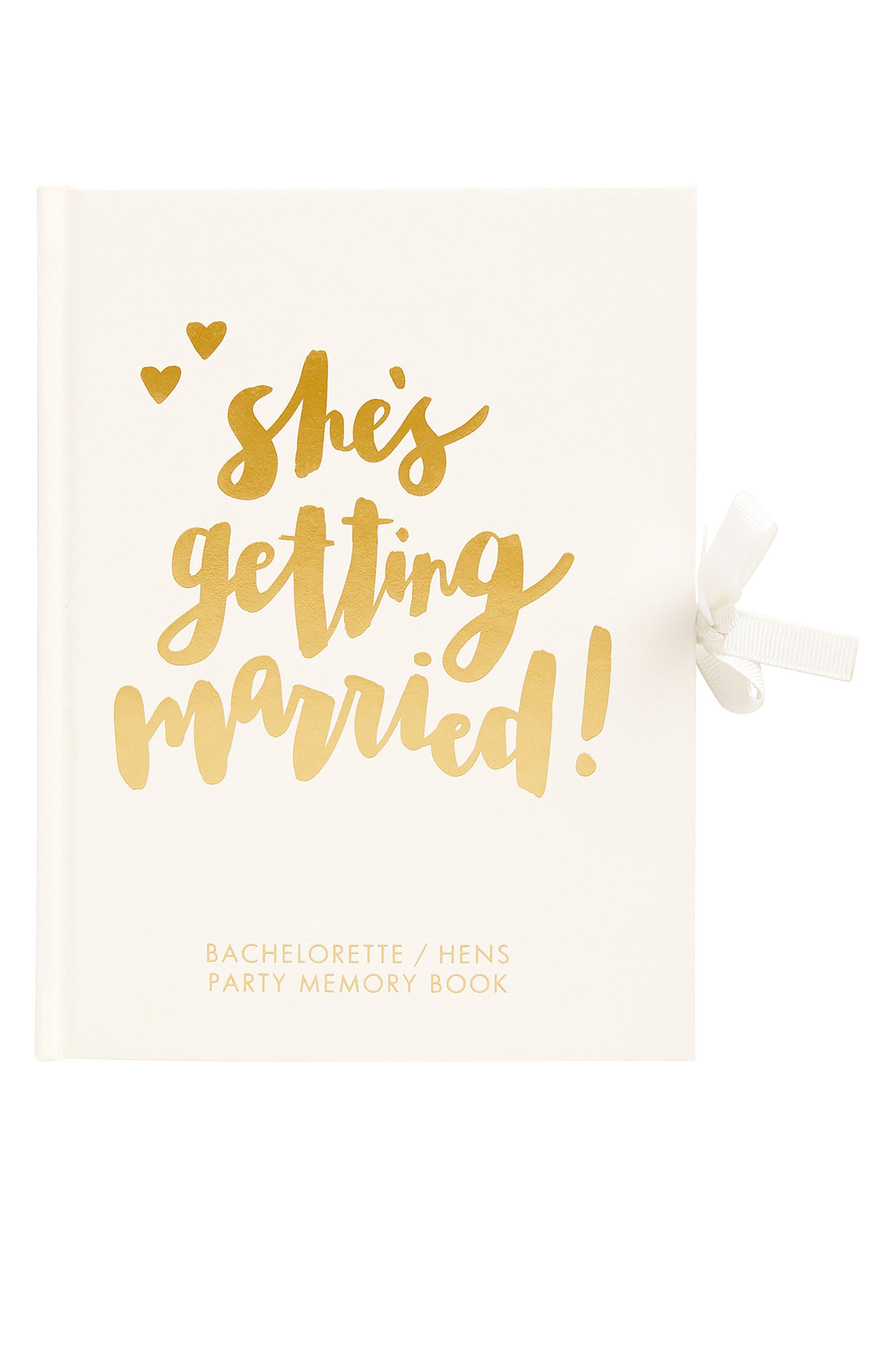 Hardcover Always & Forever Bachelorette Memory Book,                             Main thumbnail 1, color,                             White
