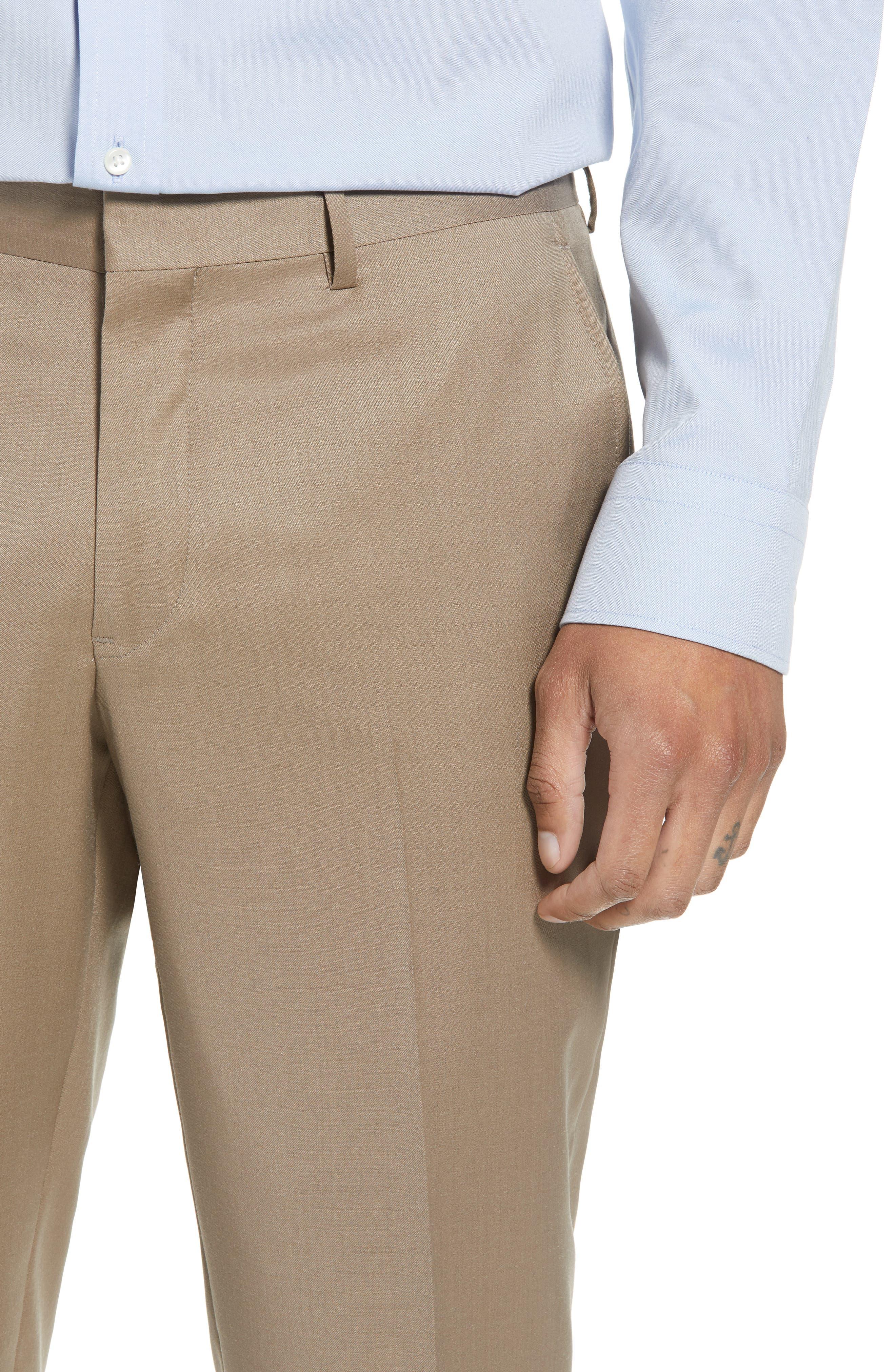 Flat Front Tech-Smart Extra Trim Trousers,                             Alternate thumbnail 6, color,                             Tan