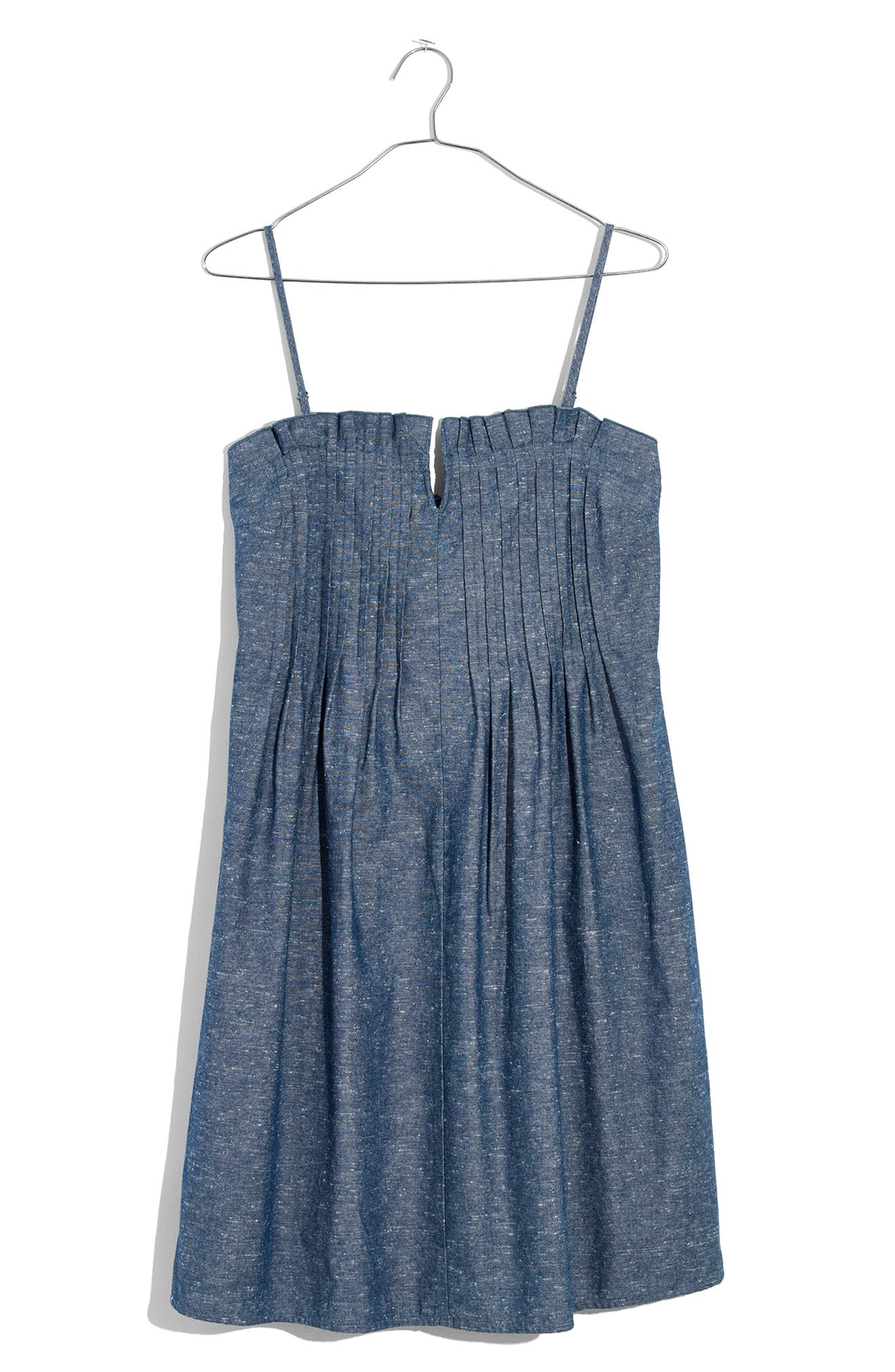Pintuck Denim Camisole Dress,                             Alternate thumbnail 3, color,                             Brilliant Royal
