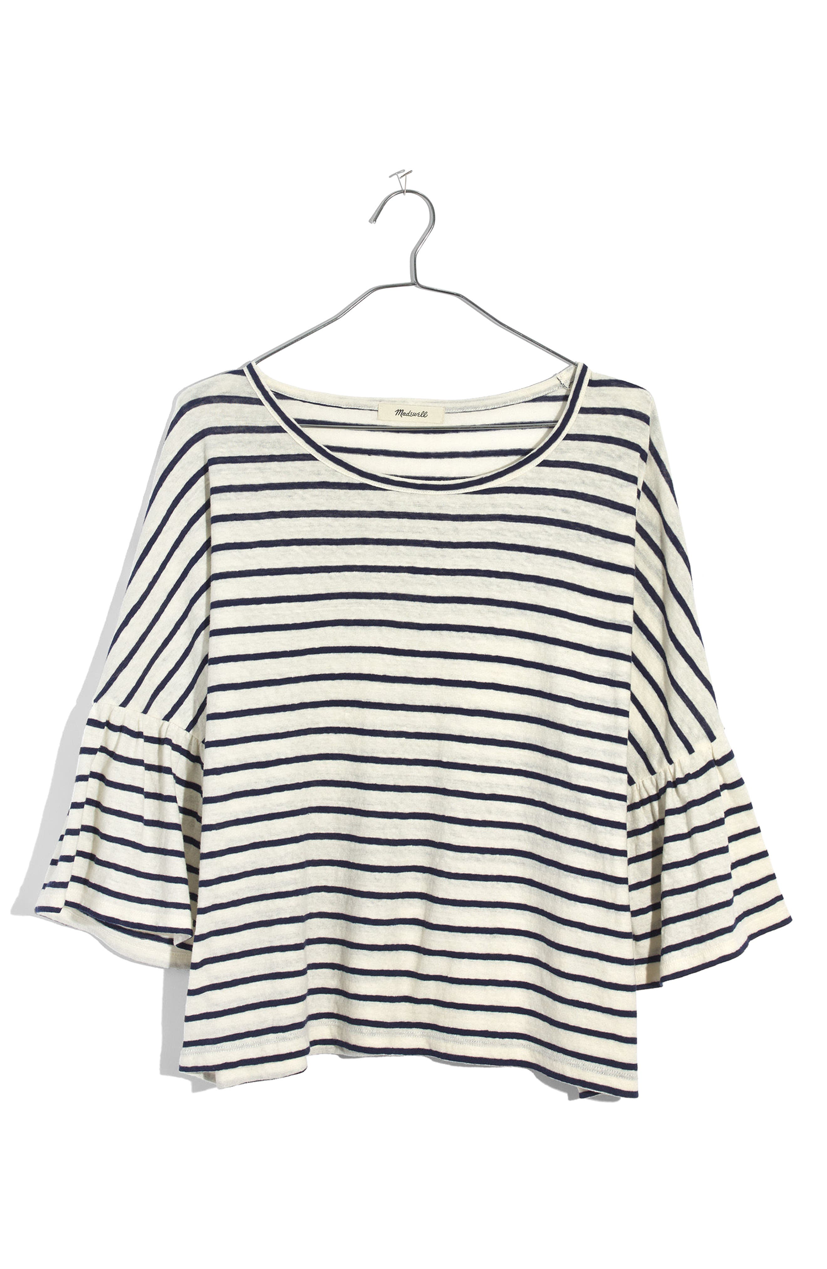 Stripe Flare Sleeve Tee,                             Alternate thumbnail 3, color,                             Bright Ivory