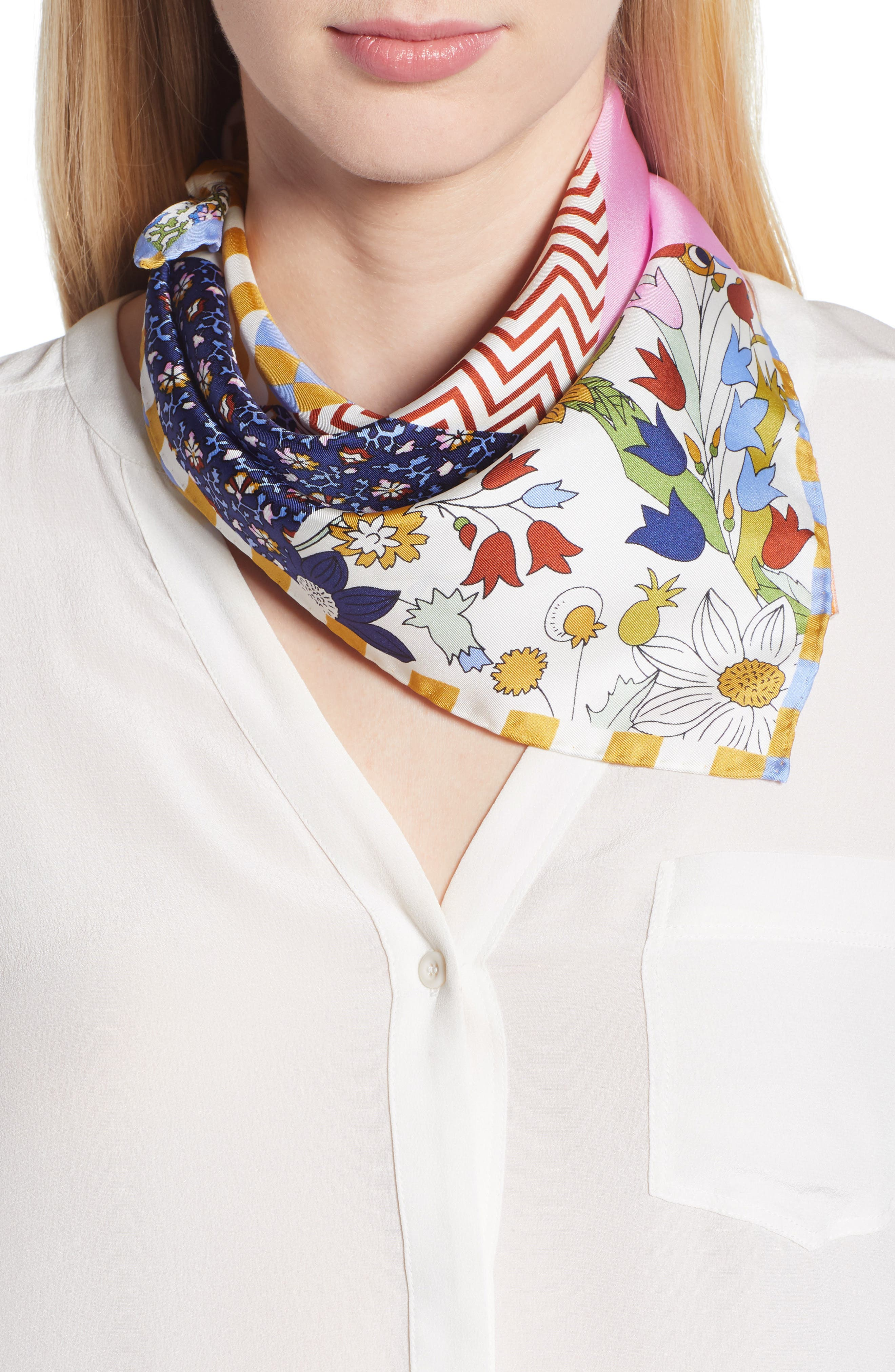 Patchwork Silk Scarf,                         Main,                         color, Floral Patchwork