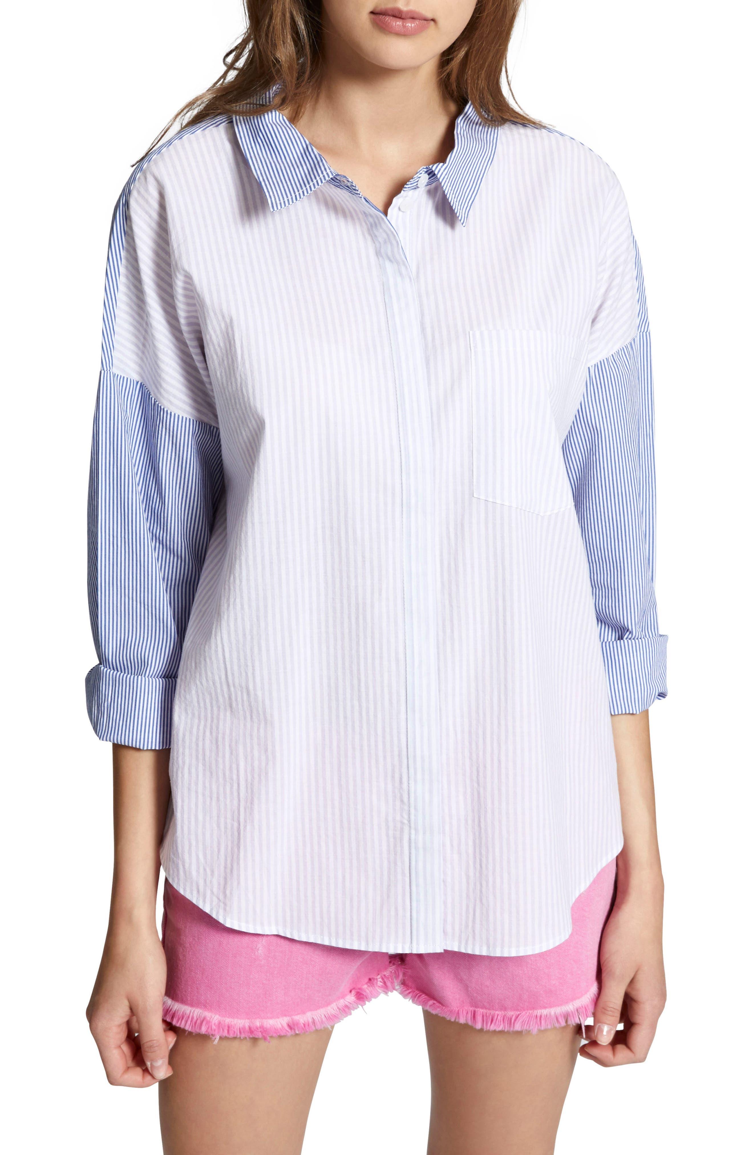 Tie Back Mixed Stripe Boyfrend Shirt,                             Main thumbnail 1, color,                             Core Stripe