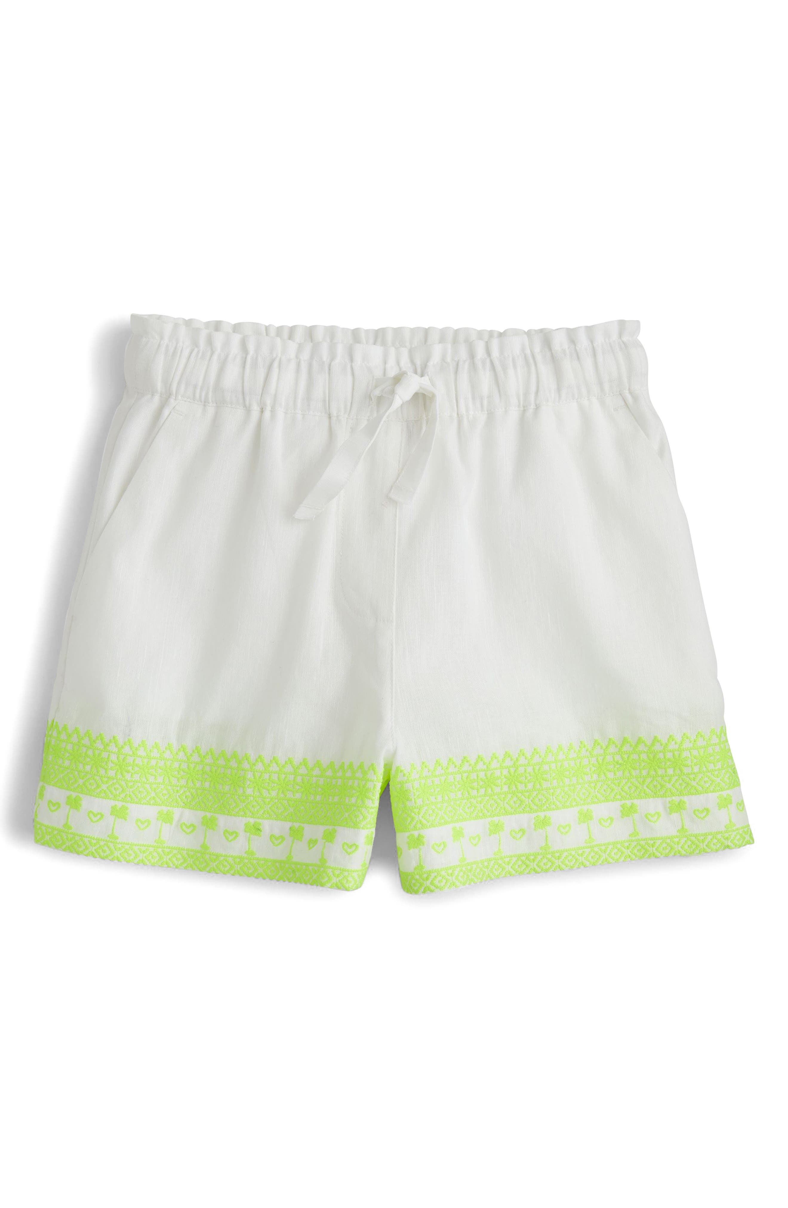 Skirty Embroidered Shorts,                             Main thumbnail 1, color,                             White