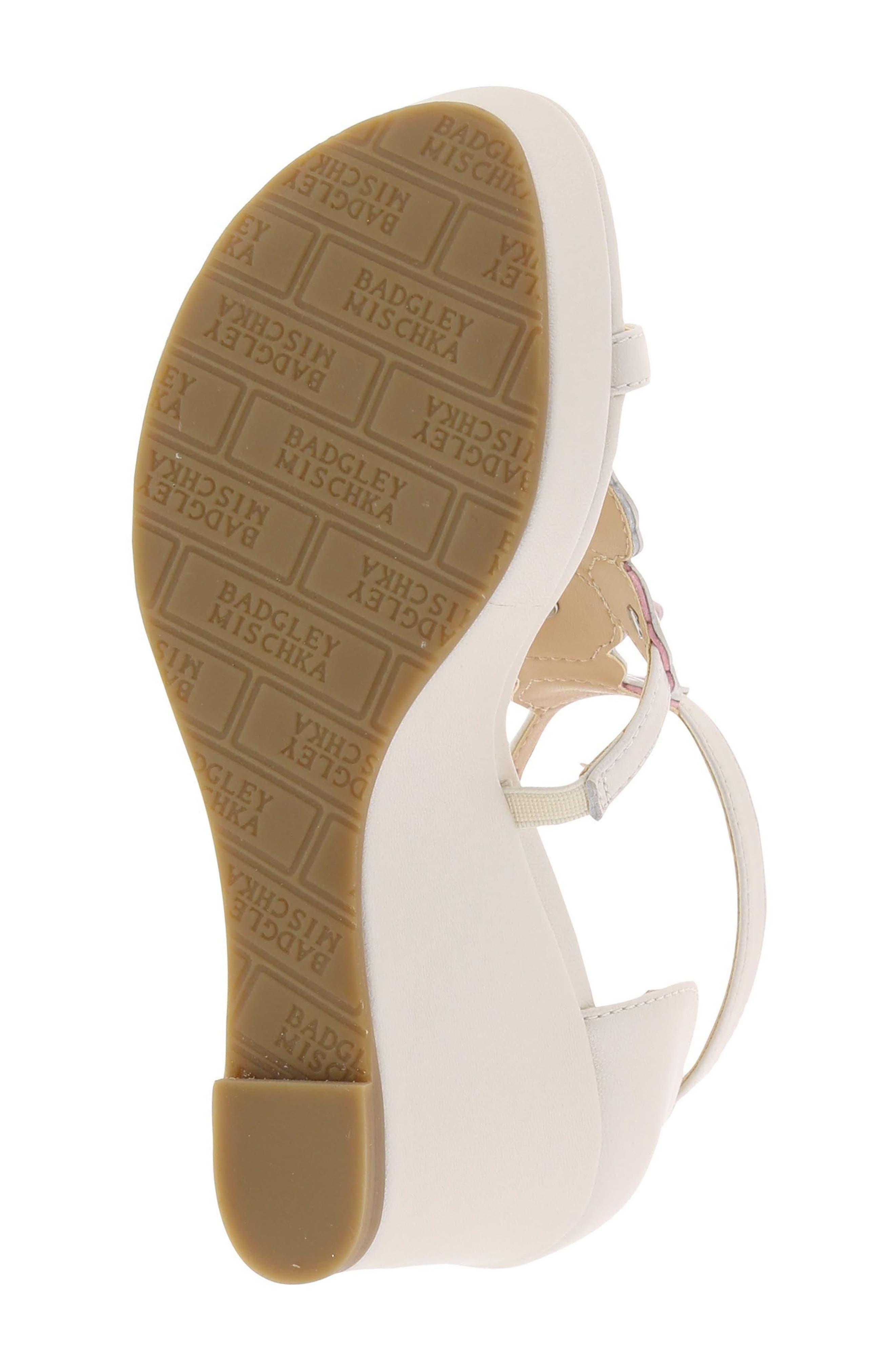 Sophia Flora Wedge Sandal,                             Alternate thumbnail 6, color,                             Pearlized White Multi