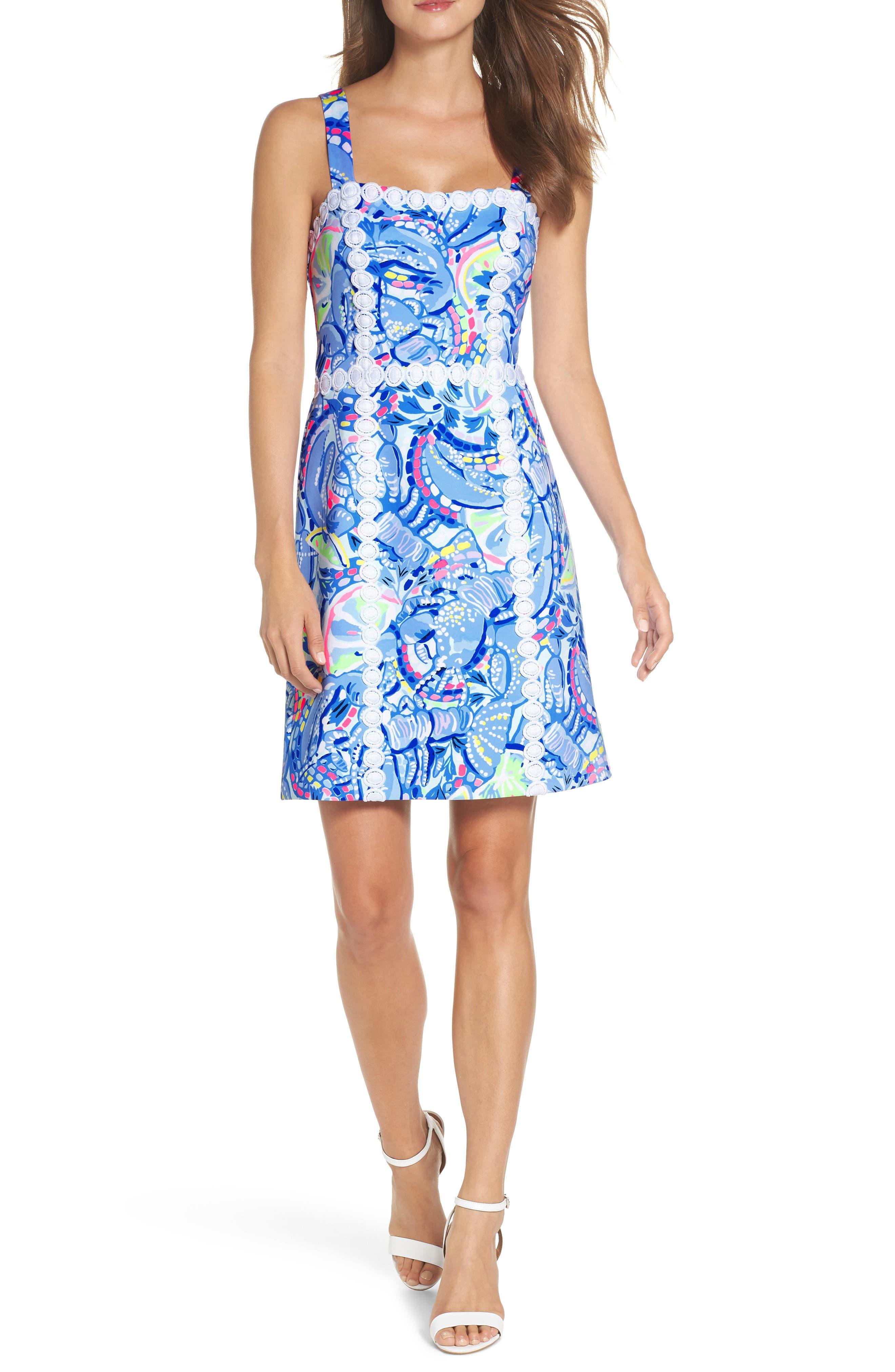 Janelle Stretch Sheath Dress,                         Main,                         color, Blue Peri Pinch