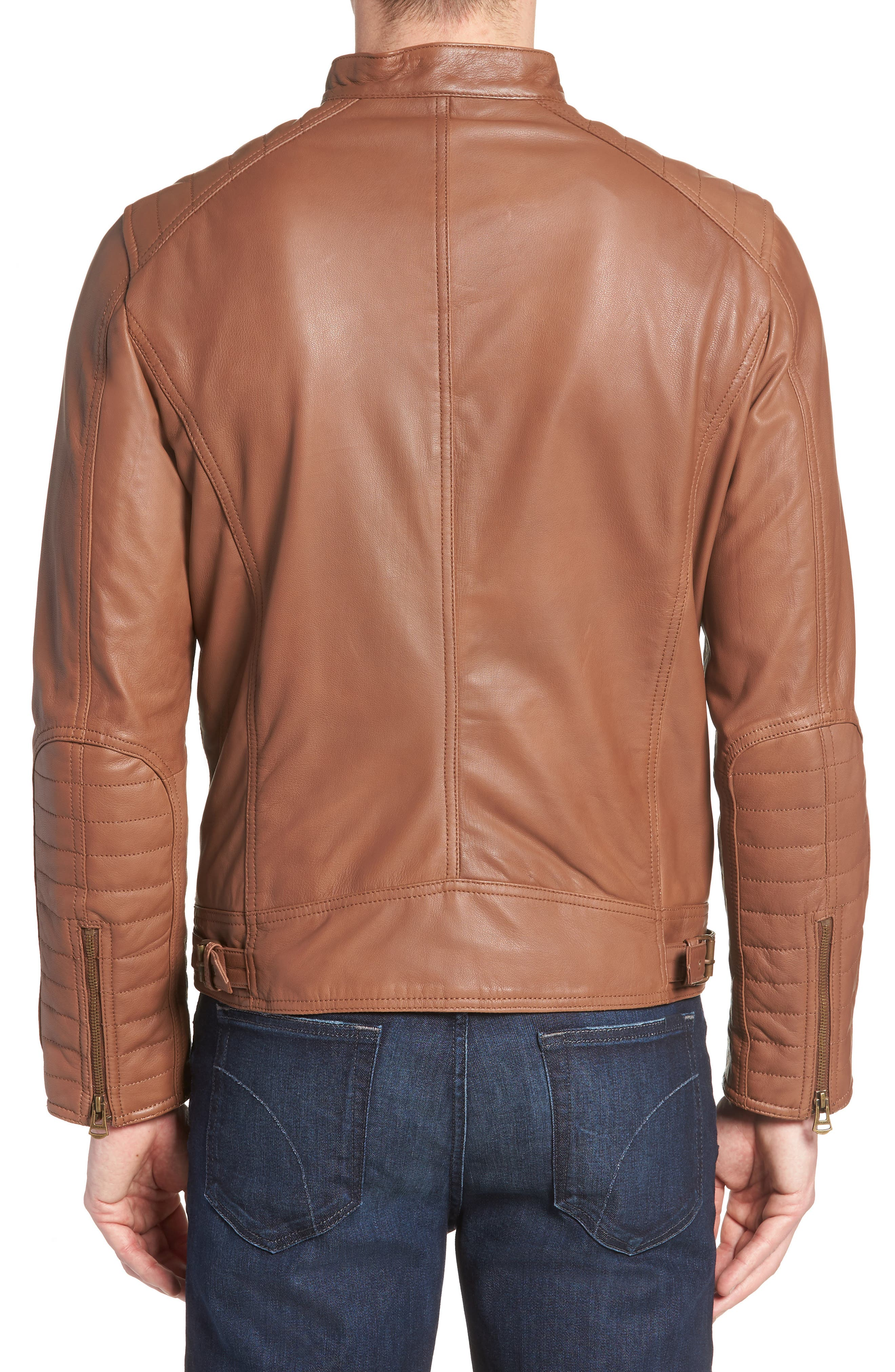 Washed Leather Moto Jacket,                             Alternate thumbnail 2, color,                             Cognac