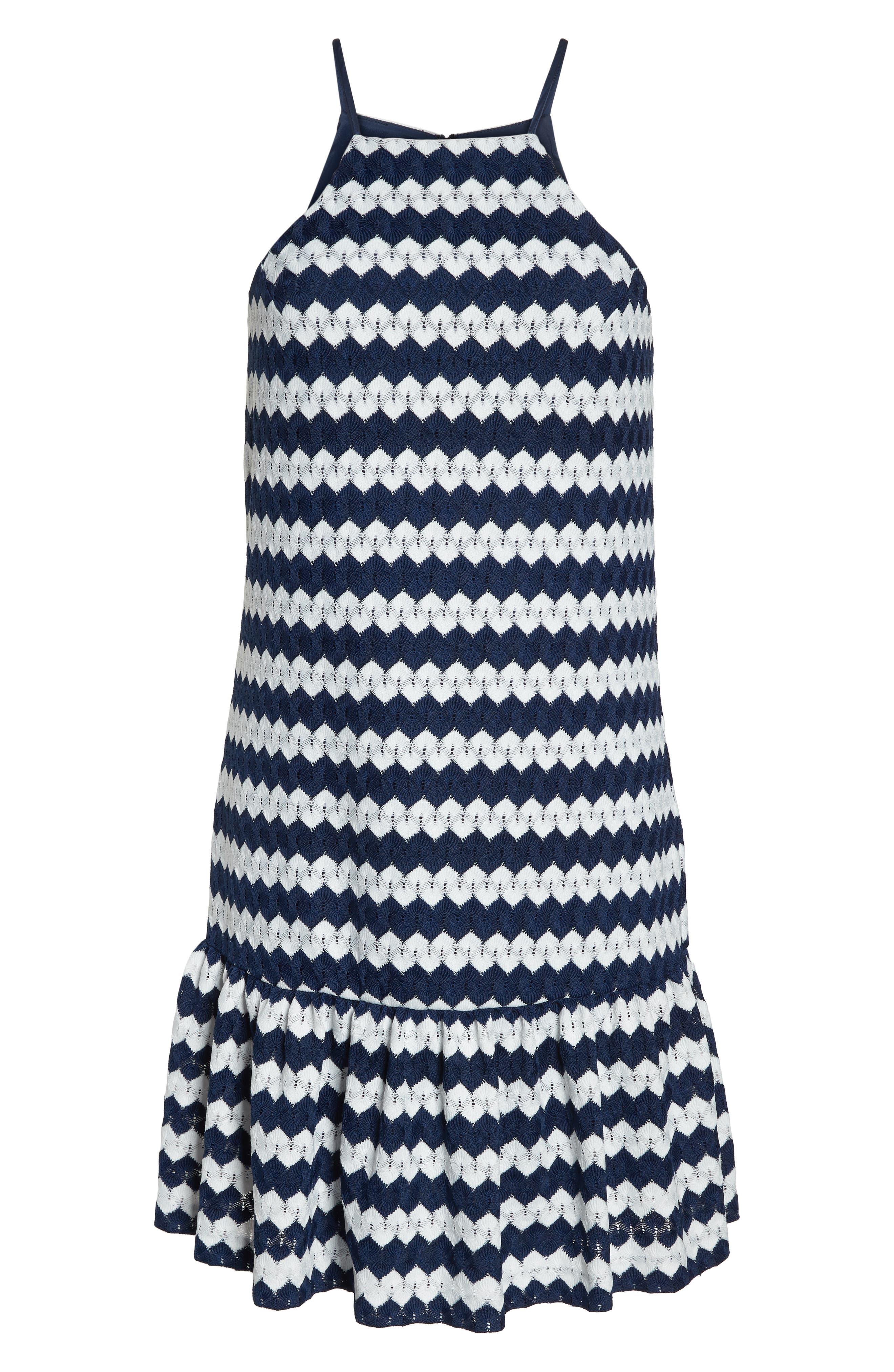 Zigzag Halter Shift Dress,                             Alternate thumbnail 7, color,                             Indigo/ Whitewash