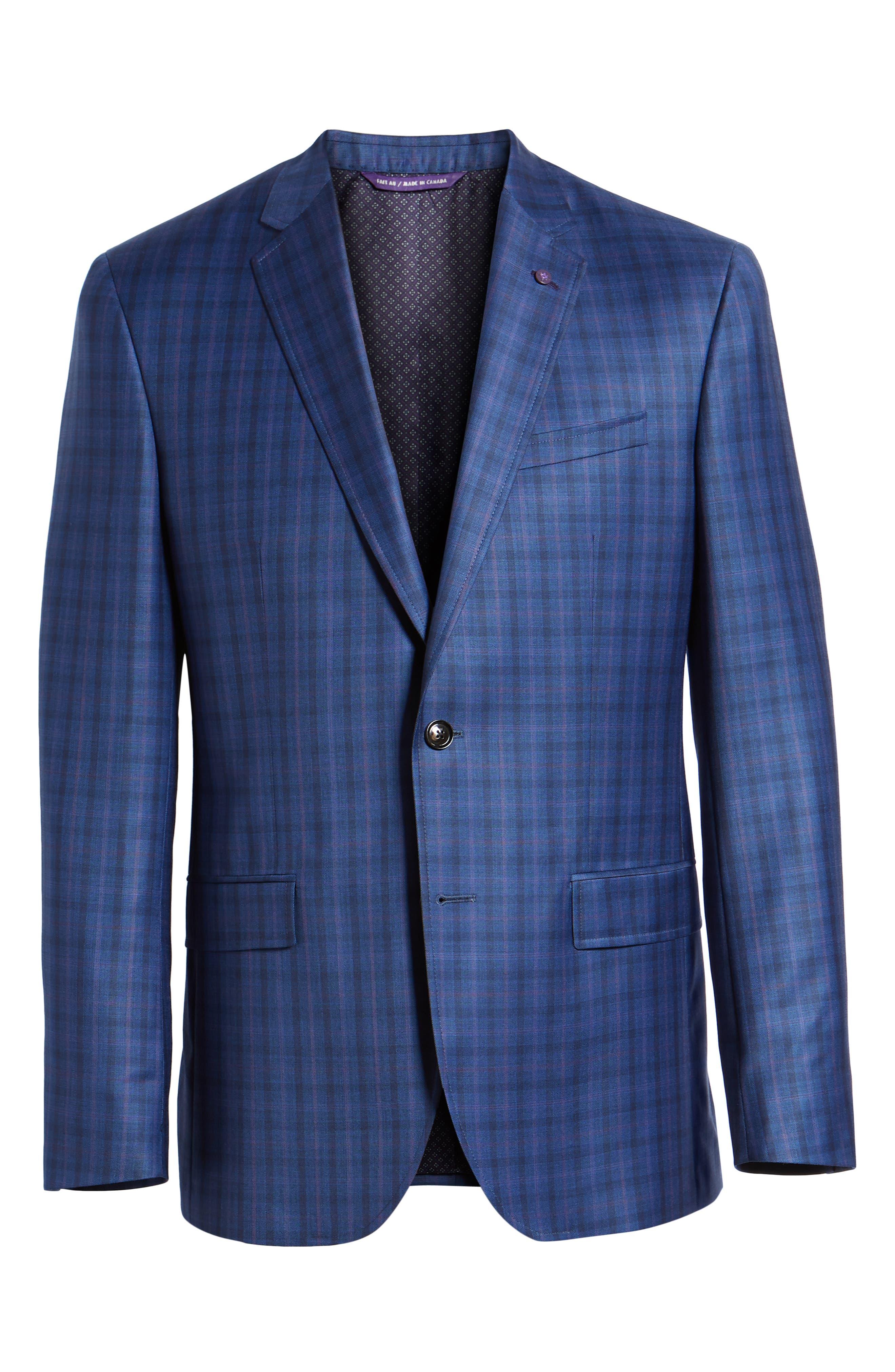 Jay Trim Fit Windowpane Wool Sport Coat,                             Alternate thumbnail 6, color,                             Blue