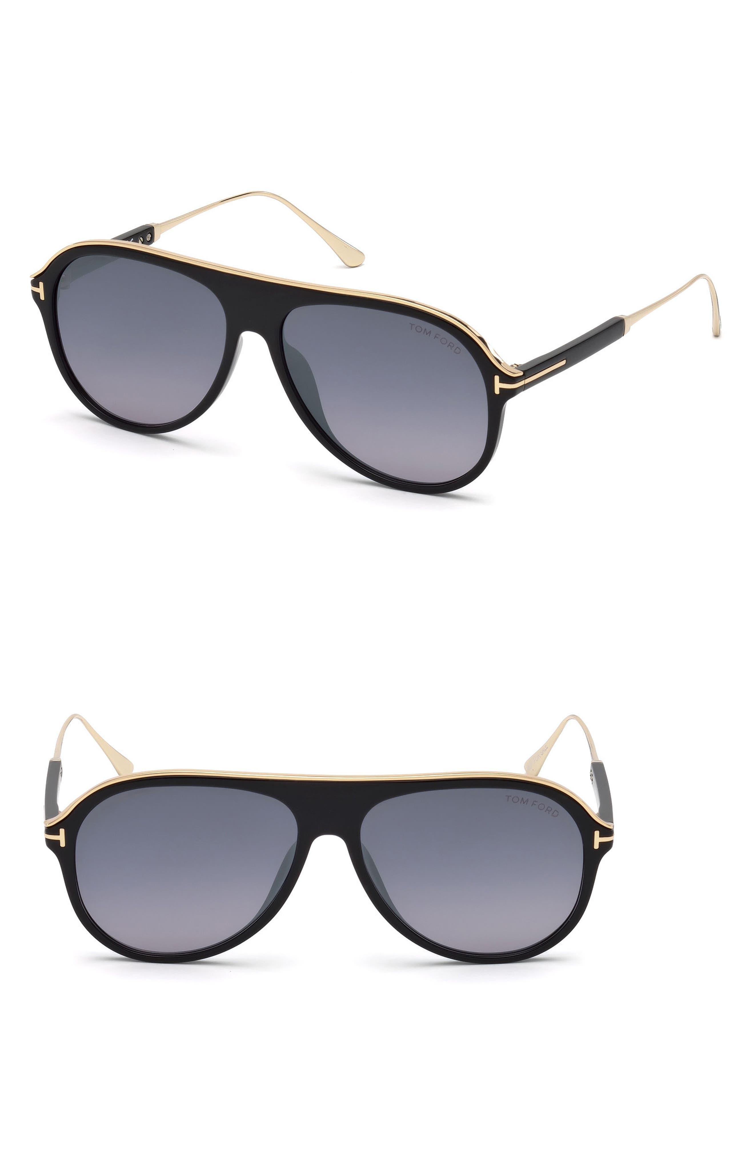 Nicholai-02 57mm Sunglasses,                             Main thumbnail 1, color,                             Shiny Black / Smoke Mirror