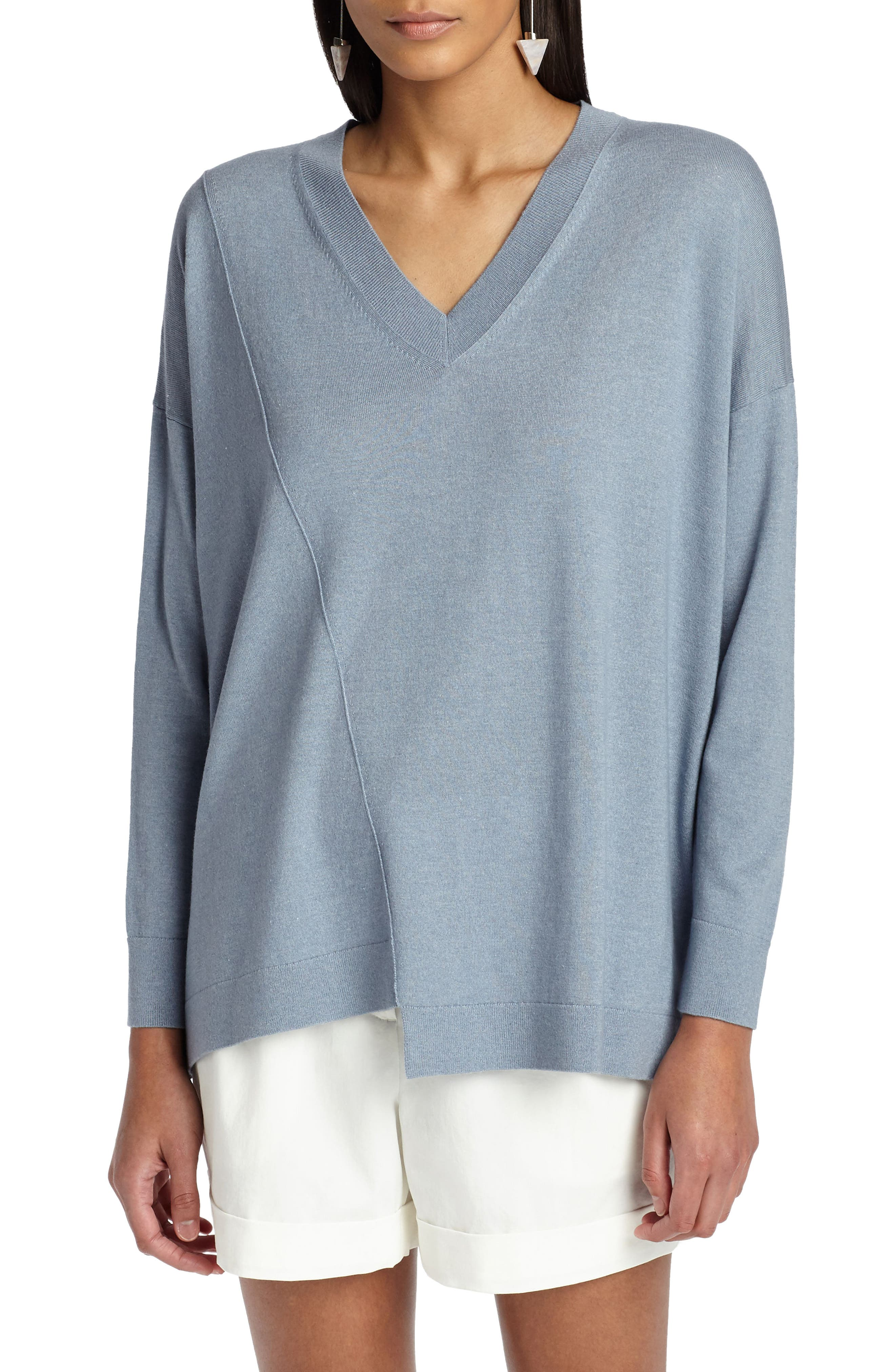Asymmetrical Cashmere & Silk Blend Sweater,                         Main,                         color, Slate Blue