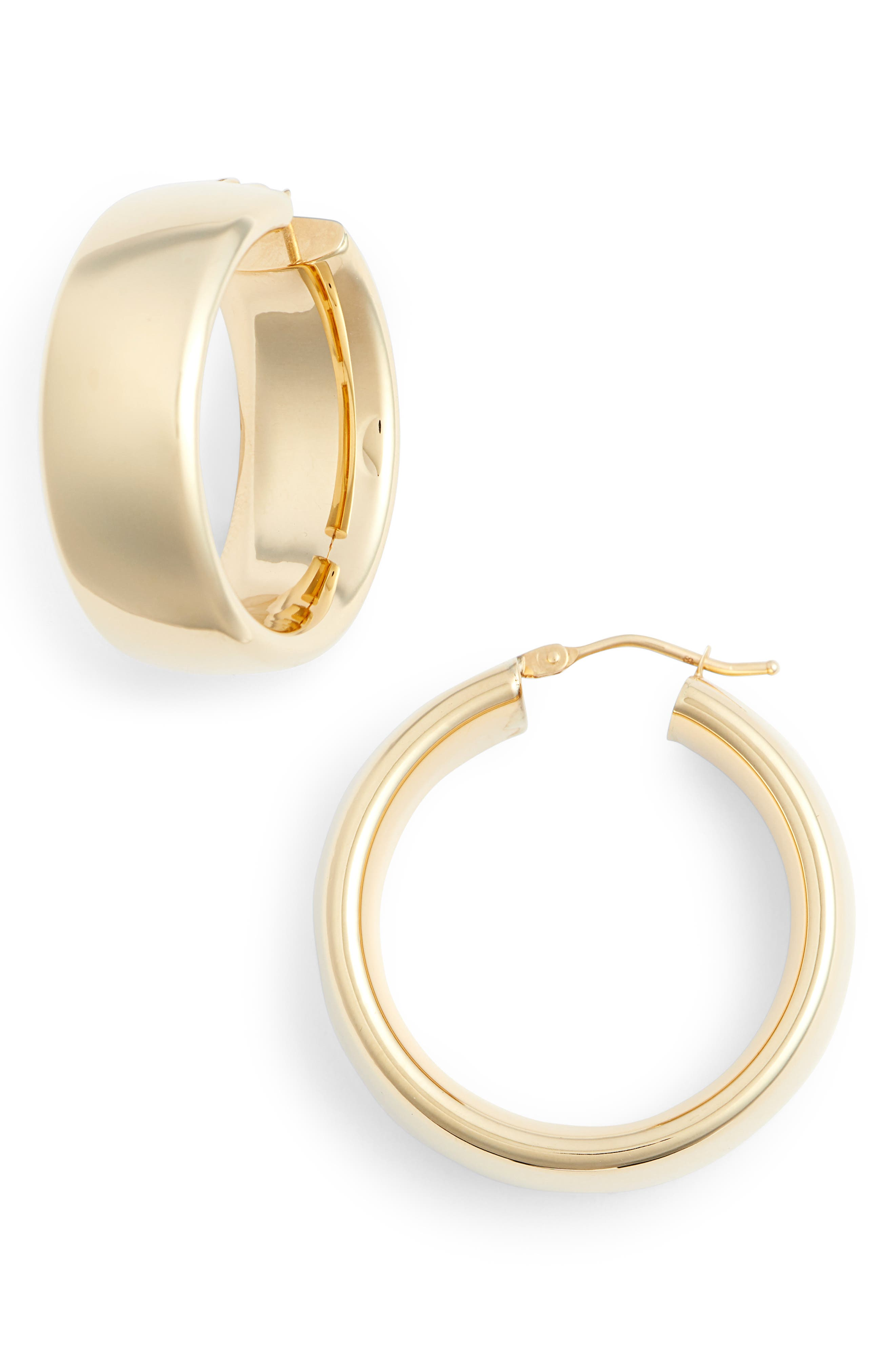 Wide Round Hoop Earrings,                         Main,                         color, Yellow Gold