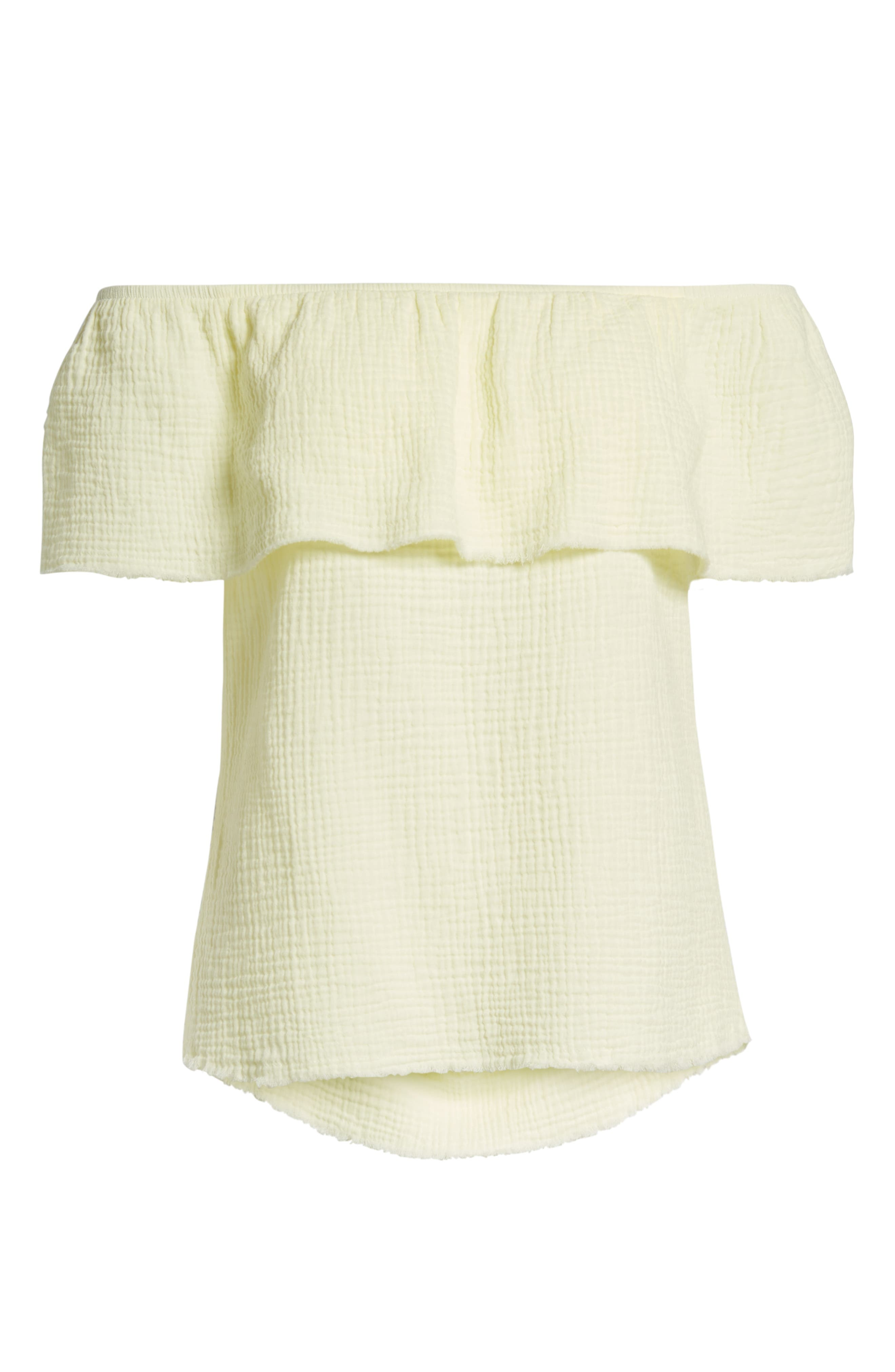 Ruffle Off the Shoulder Top,                             Alternate thumbnail 7, color,                             Yellow