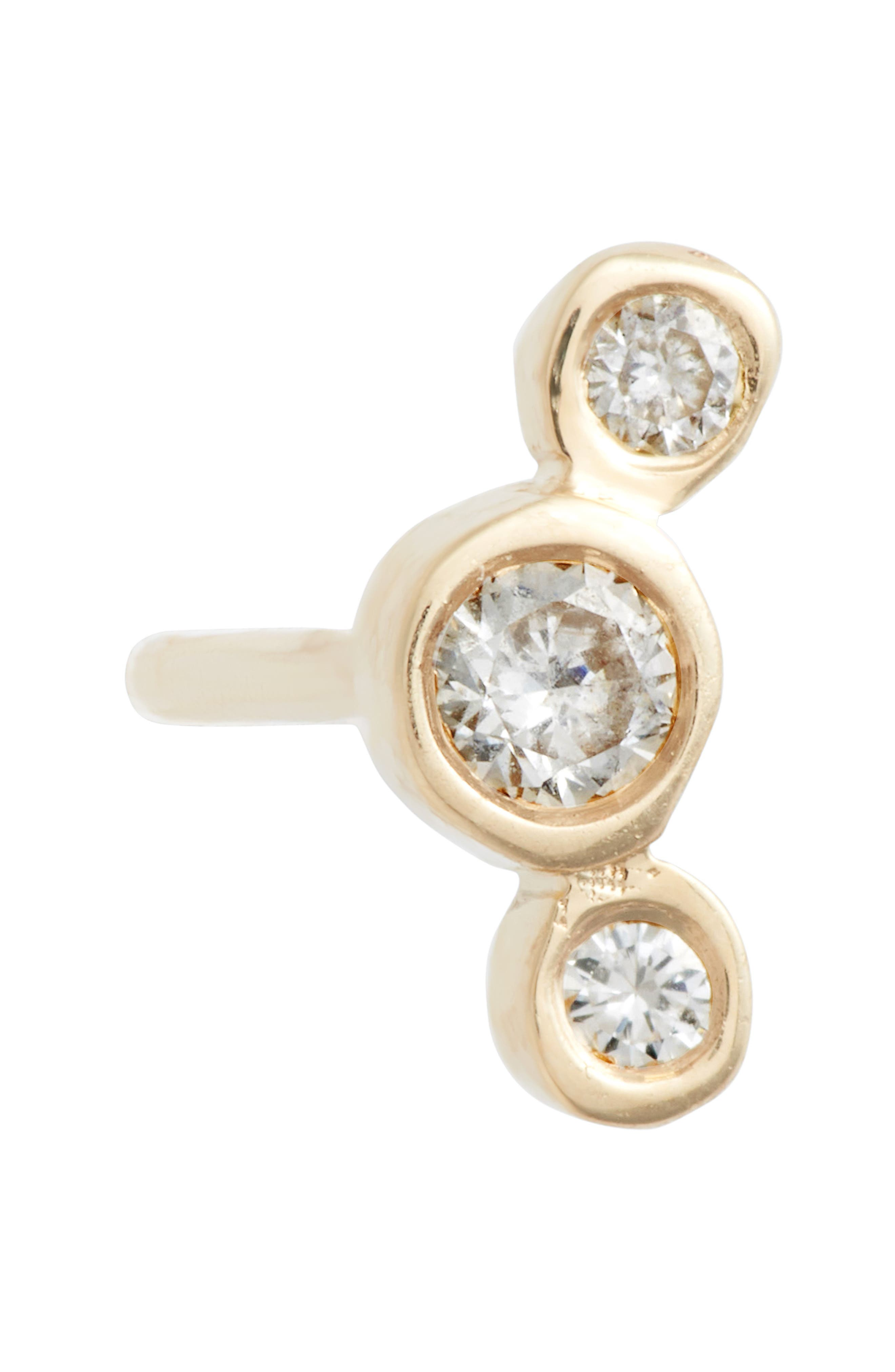 Curved 3-Diamond Stud Earrings,                             Alternate thumbnail 3, color,                             Yellow Gold