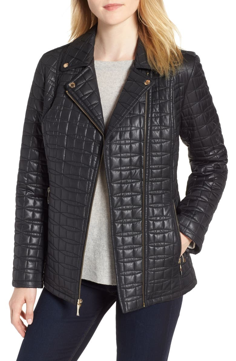 bow quilted moto jacket