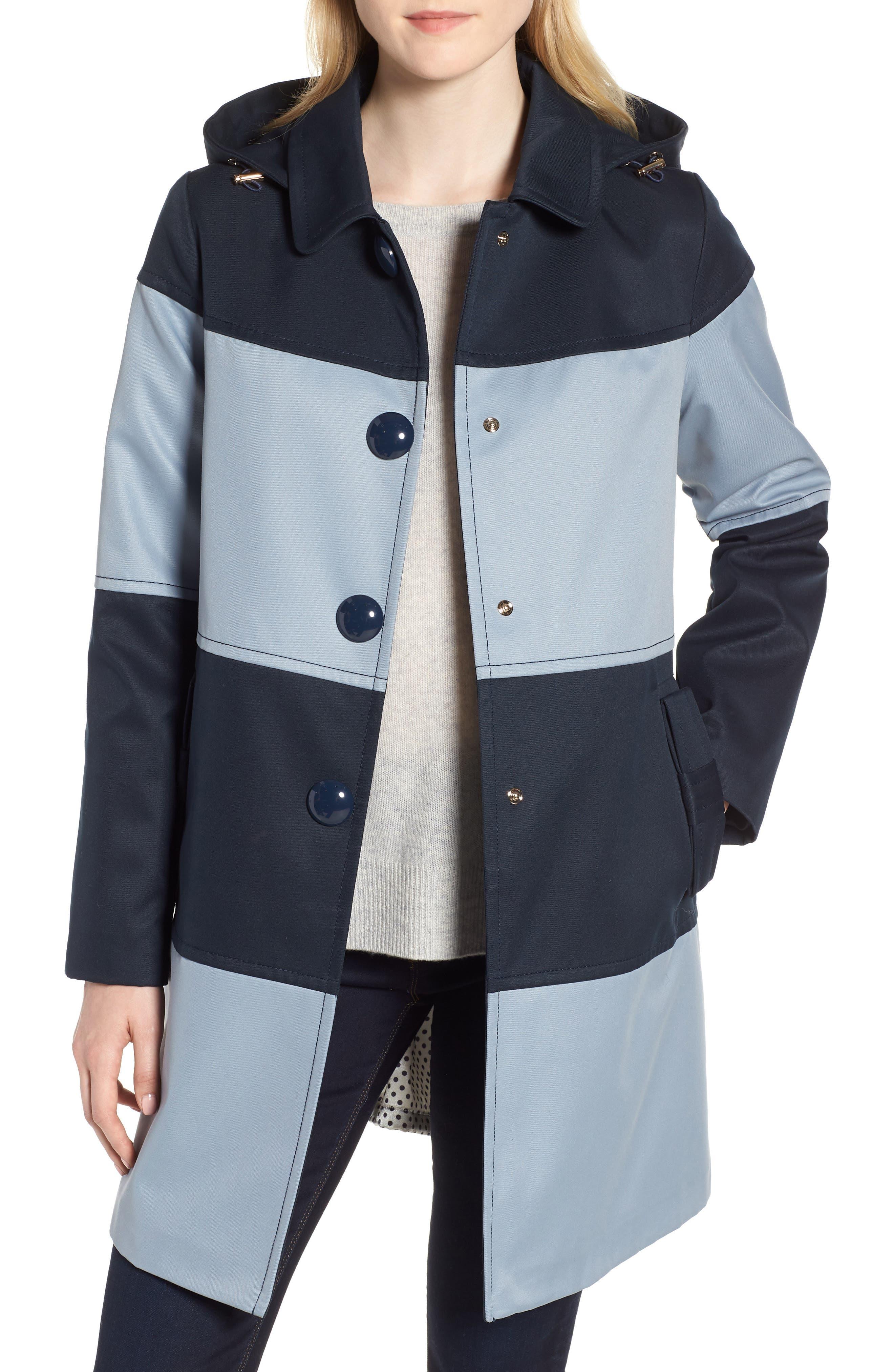 colorblock raincoat,                         Main,                         color, Dusty Blue/ Navy