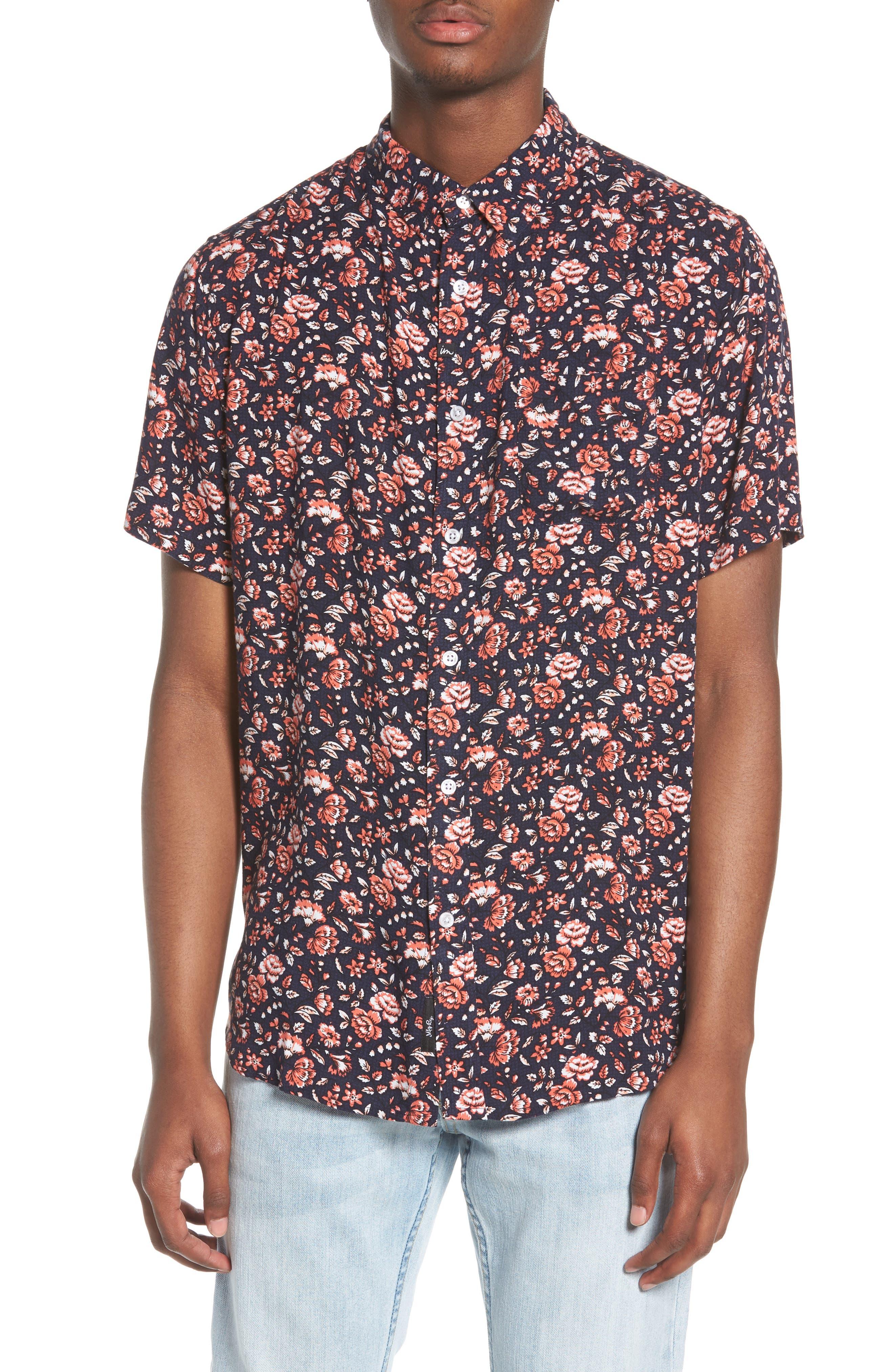 Synth Woven Shirt,                             Main thumbnail 1, color,                             Navy