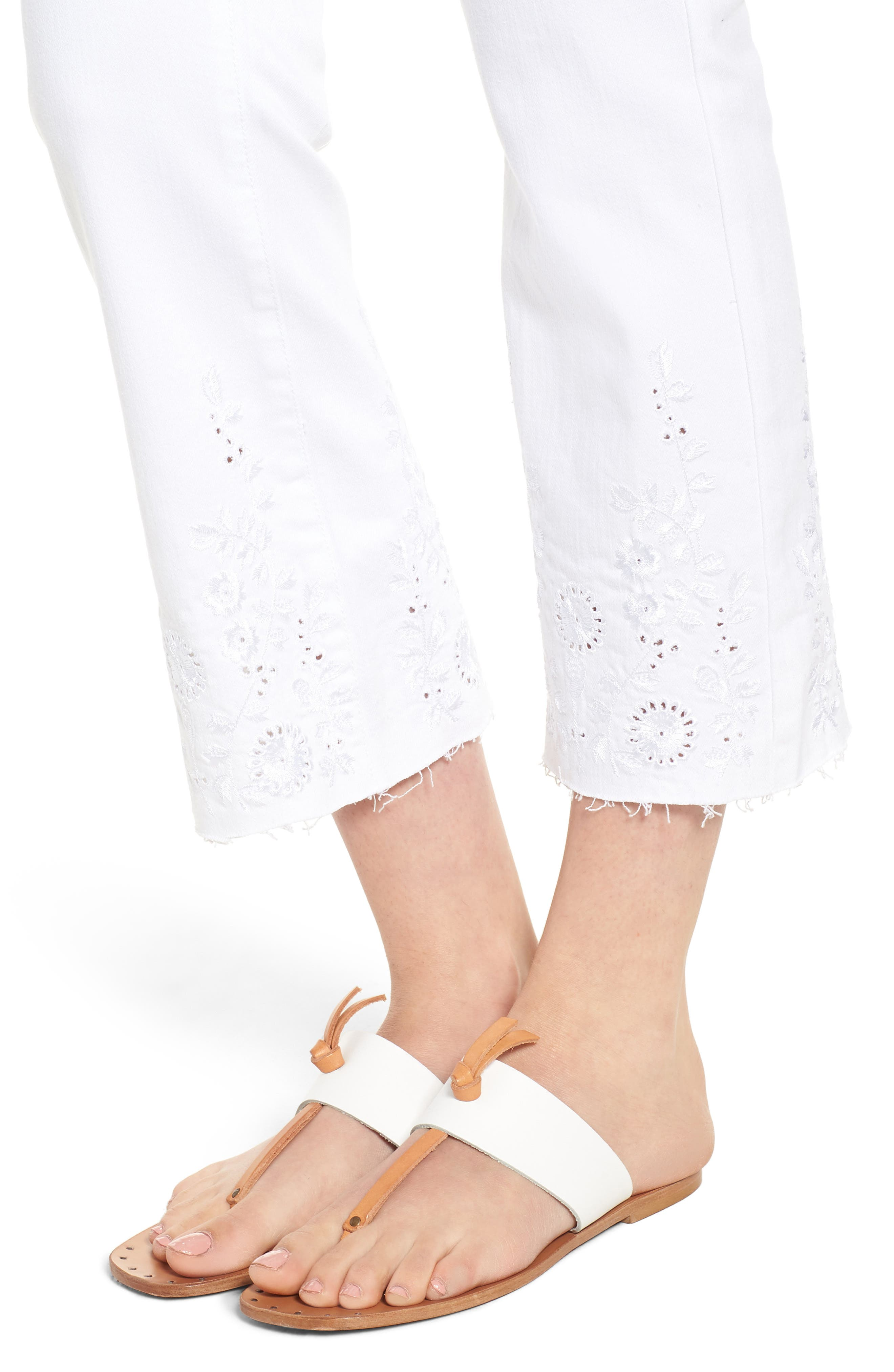 Hannah Embroidered Raw Hem Jeans,                             Alternate thumbnail 4, color,                             Bright White