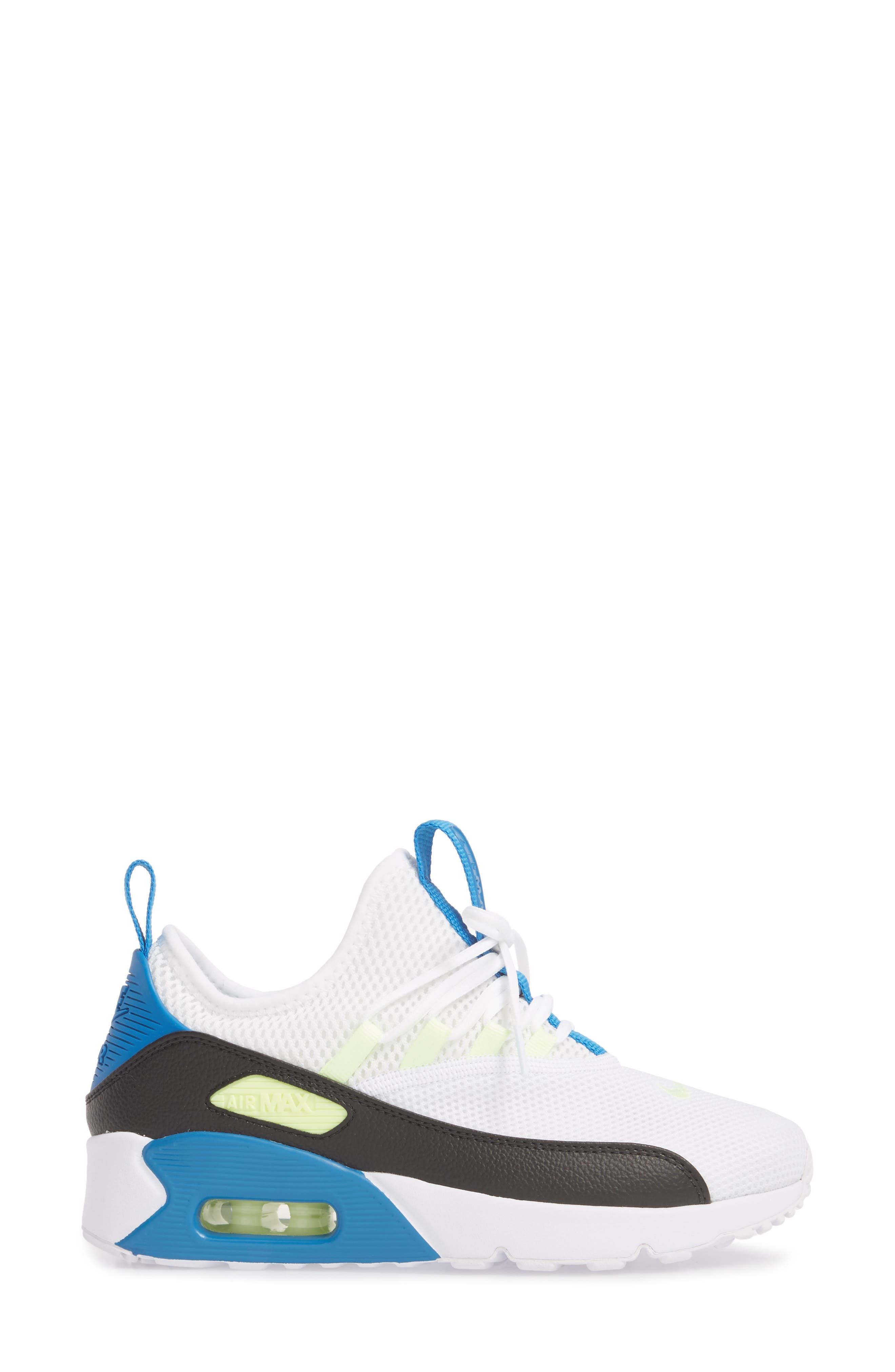 Air Max 90 EZ Sneaker,                             Alternate thumbnail 3, color,                             White/ Black/ Blue Nebula