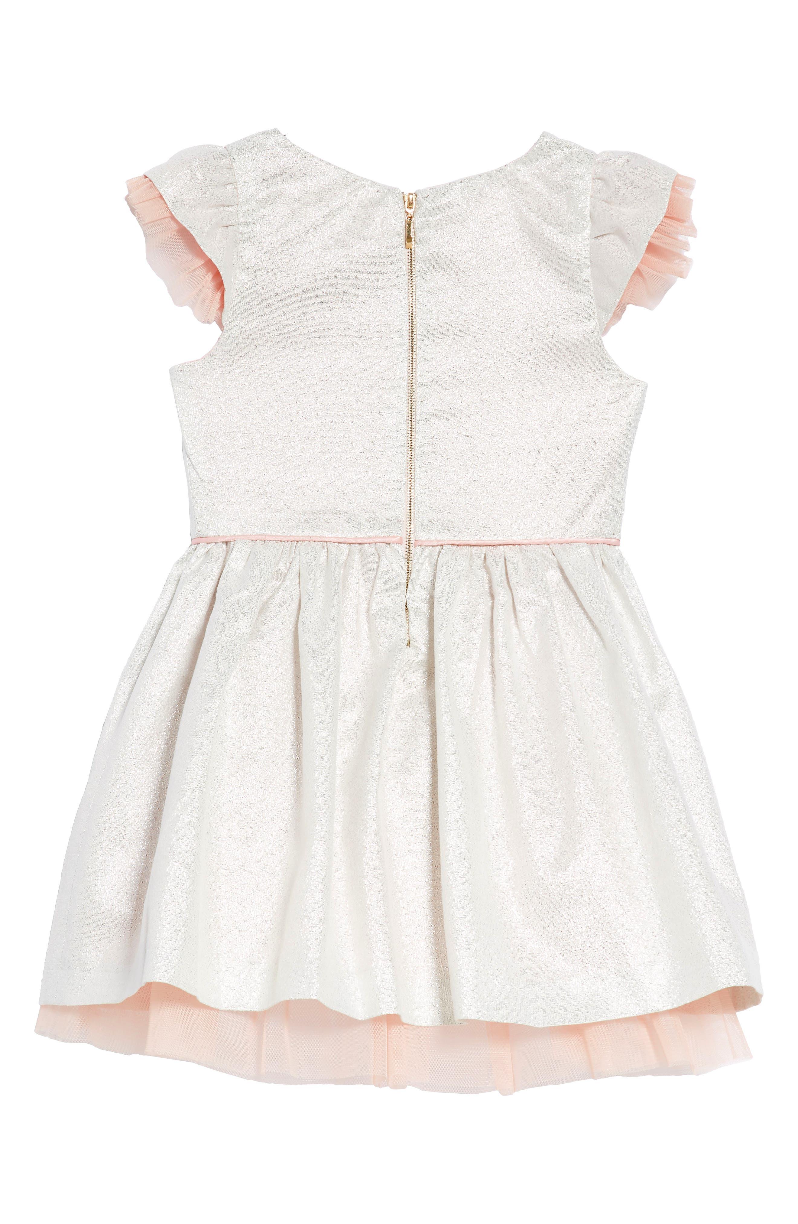 Embellished Fit & Flare Dress,                             Alternate thumbnail 2, color,                             Silver