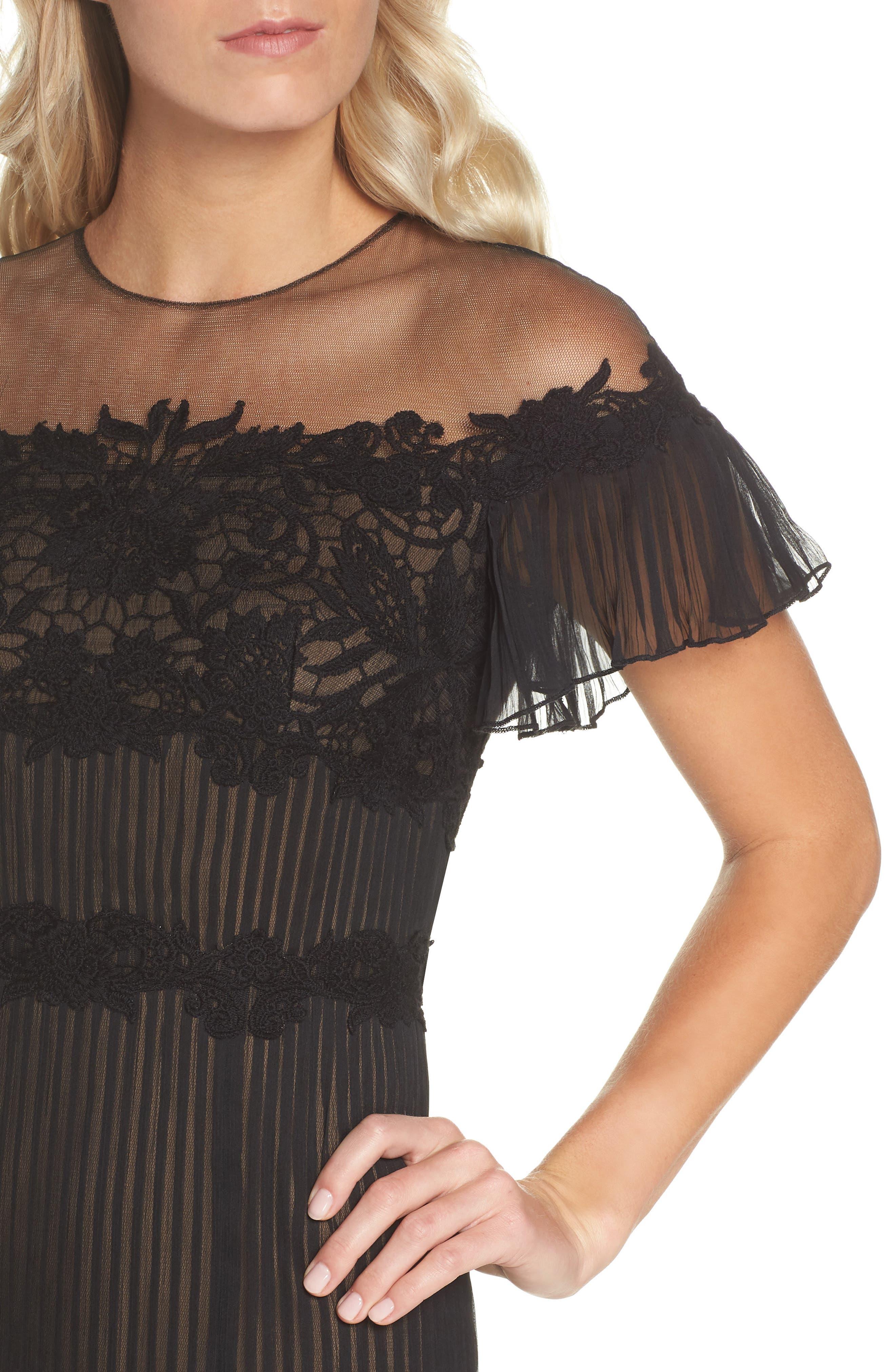 Lace & Chiffon A-Line Dress,                             Alternate thumbnail 4, color,                             Black/ Nude