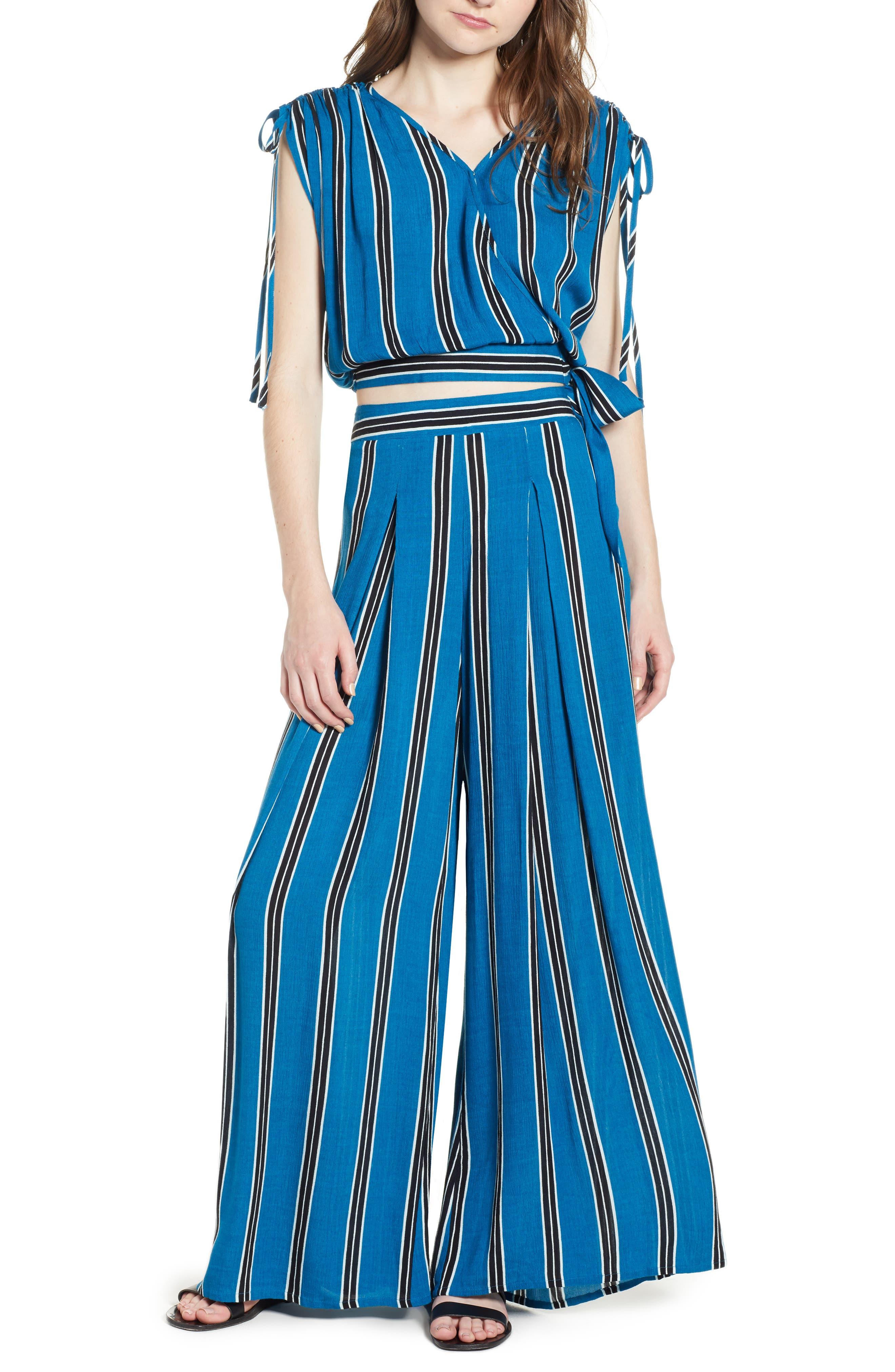 Stripe Wide Leg Pants,                             Alternate thumbnail 2, color,                             Blue/ Black