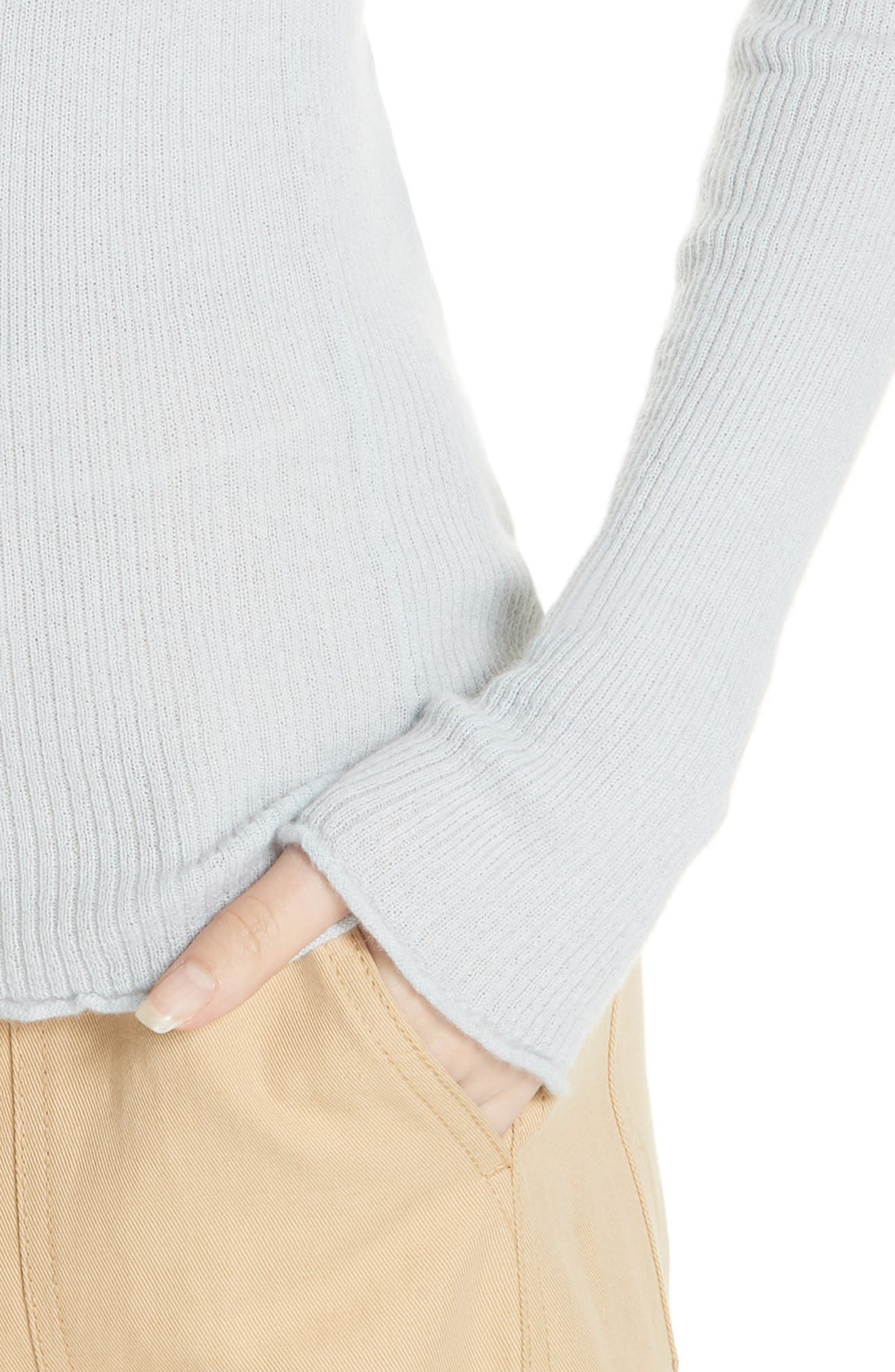 Ribbed Cashmere Crewneck Sweater,                             Alternate thumbnail 4, color,                             Ice