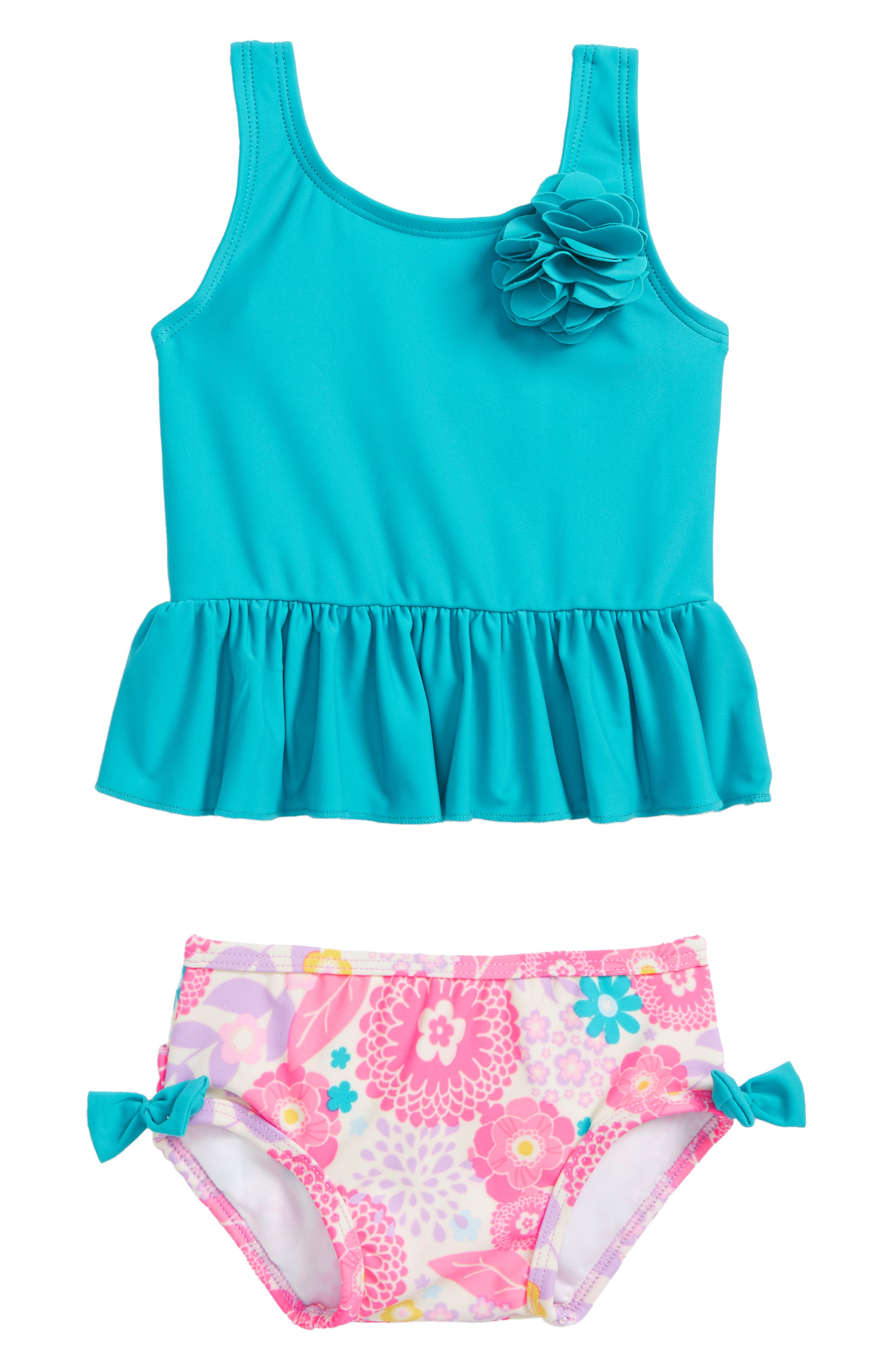 Blooming Peplum Two-Piece Swimsuit,                             Main thumbnail 1, color,                             Key West