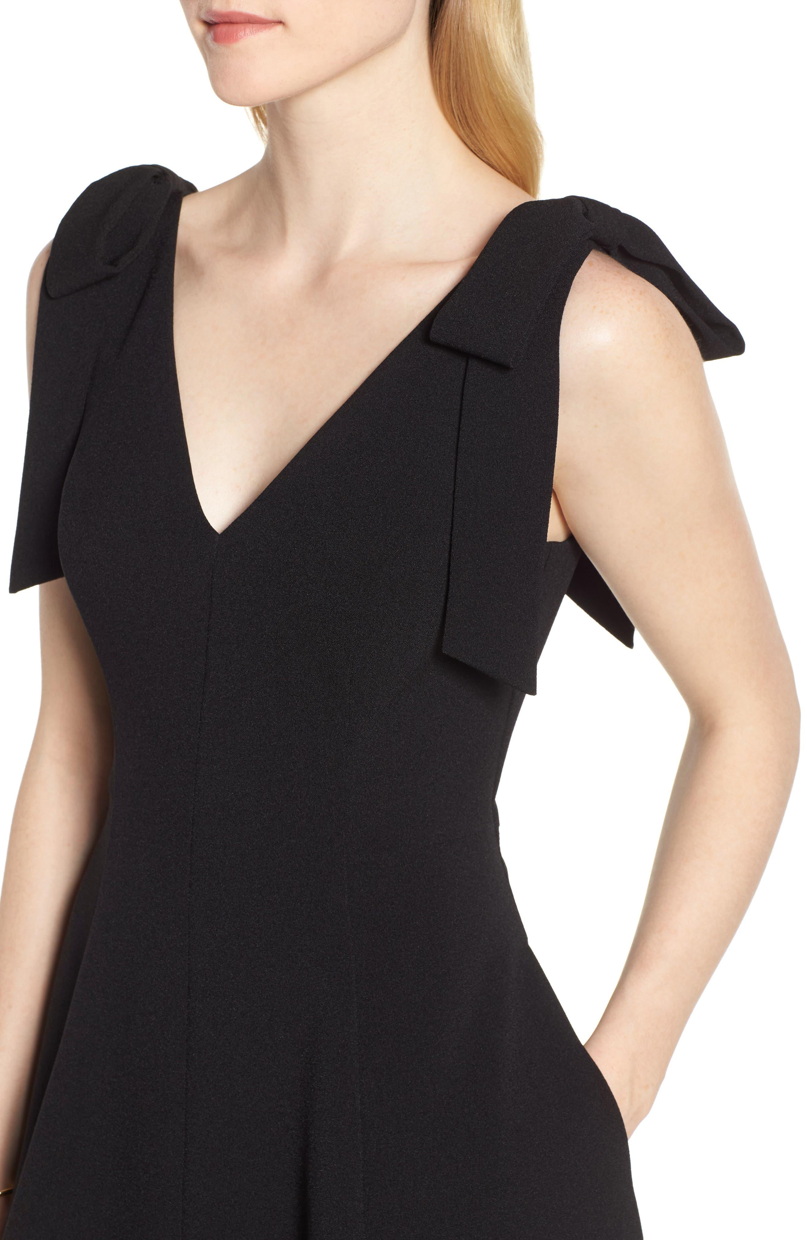 Tie Shoulder Fit & Flare Dress,                             Alternate thumbnail 4, color,                             Black
