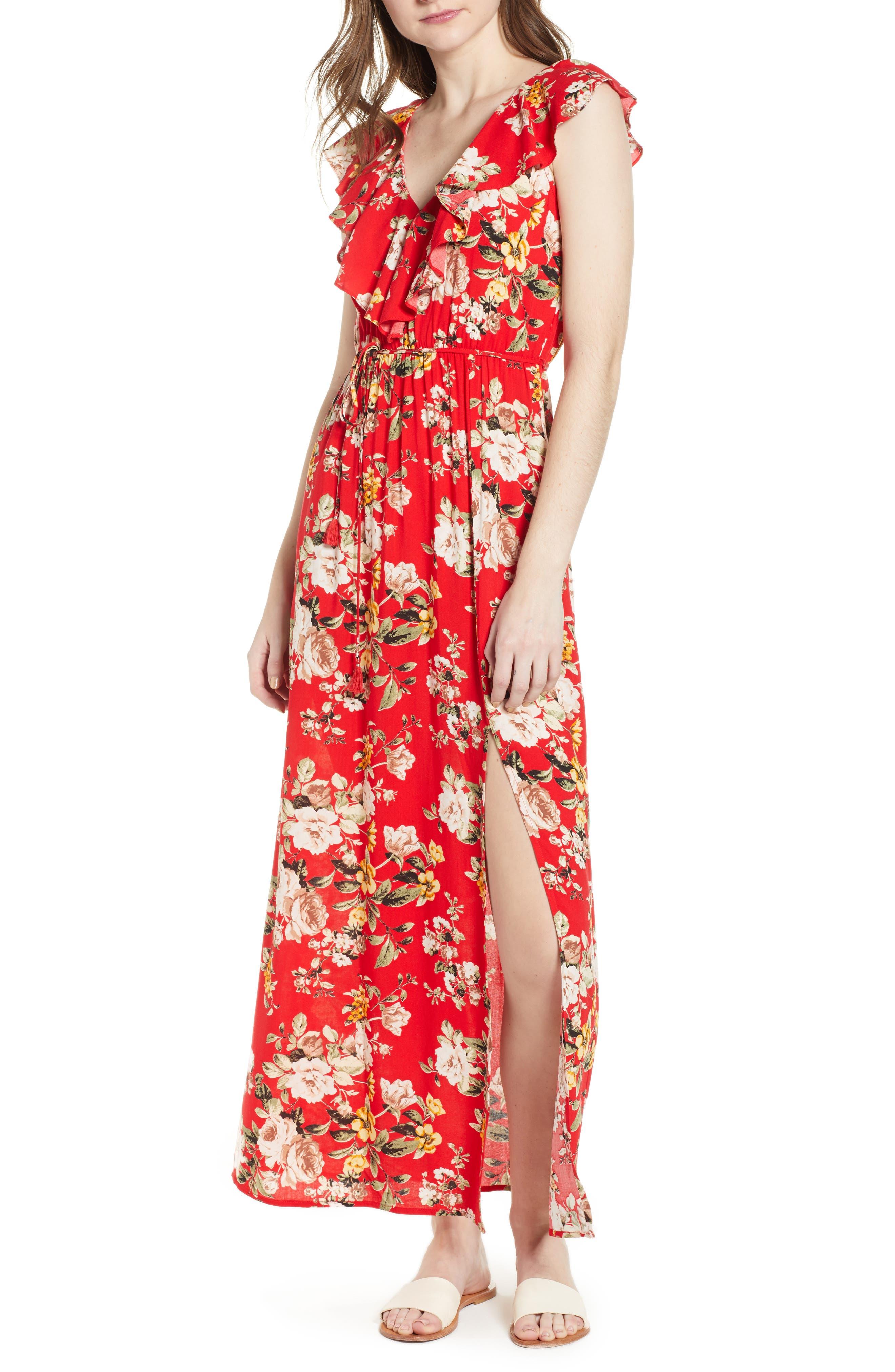 Ruffle Maxi Dress,                         Main,                         color, 483 Red