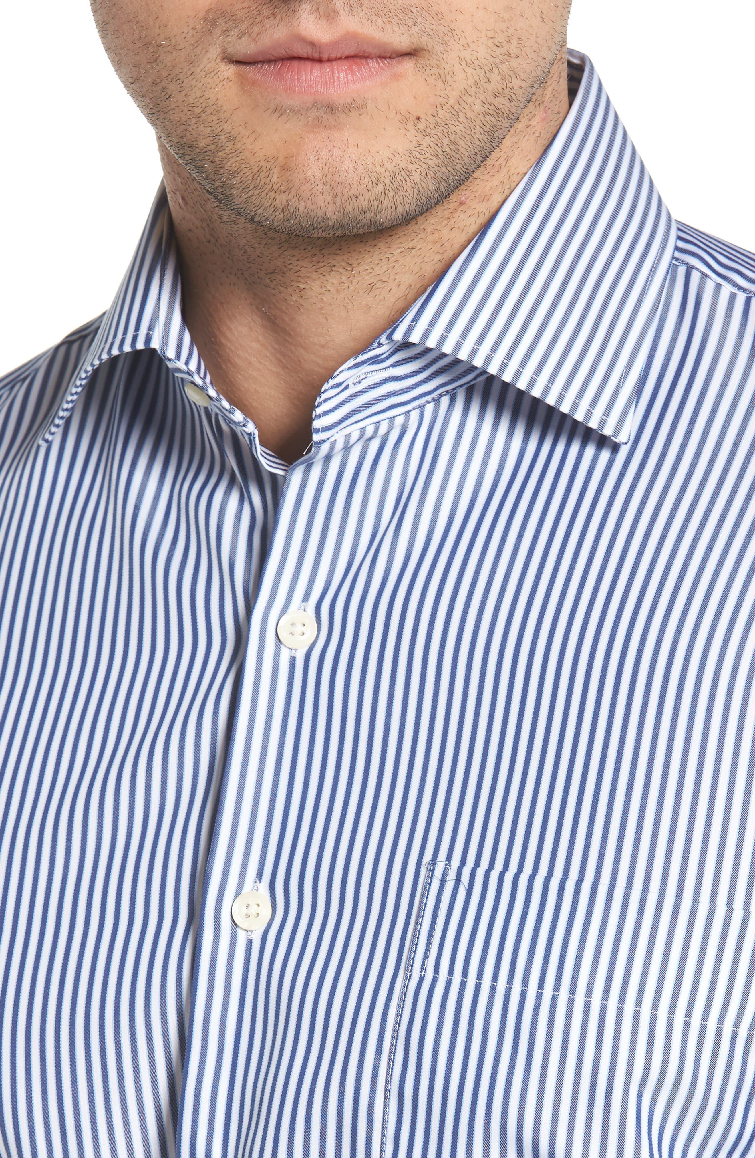 Crown Soft Avery Regular Fit Stripe Sport Shirt,                             Alternate thumbnail 2, color,                             Yankee Blue