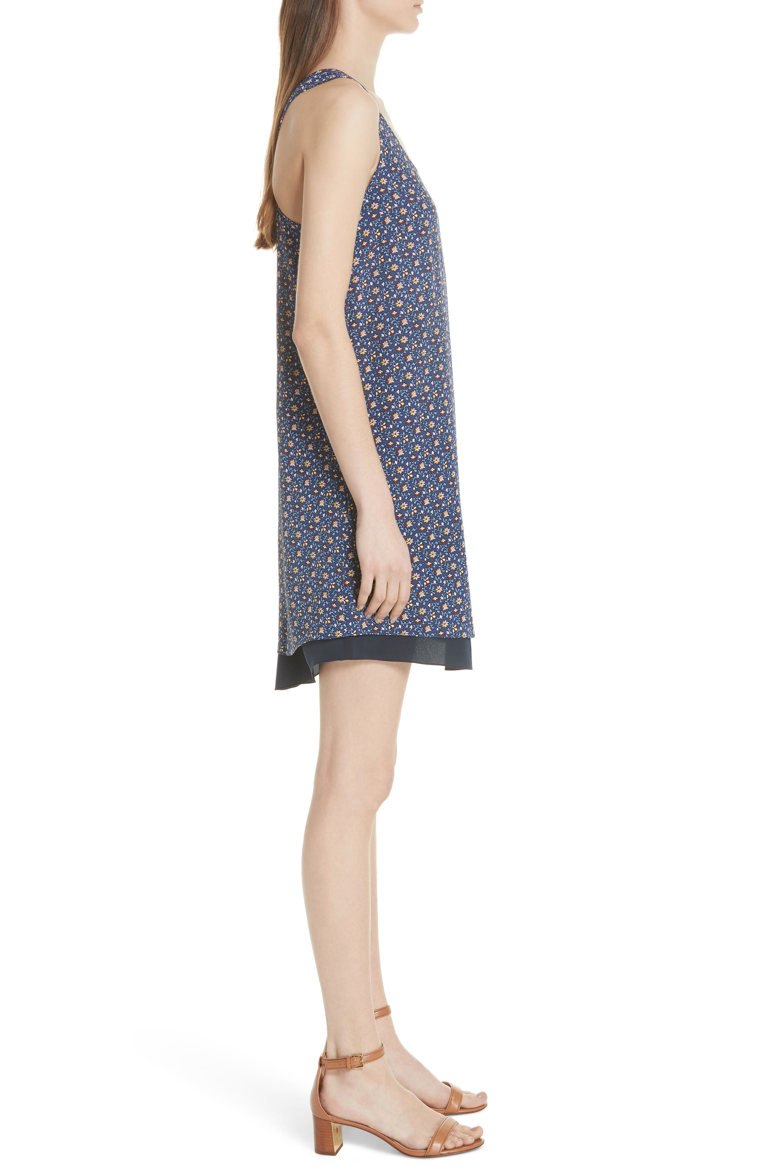 Sydney Sleeveless Silk Dress,                             Alternate thumbnail 5, color,                             Blue Wild Pansy