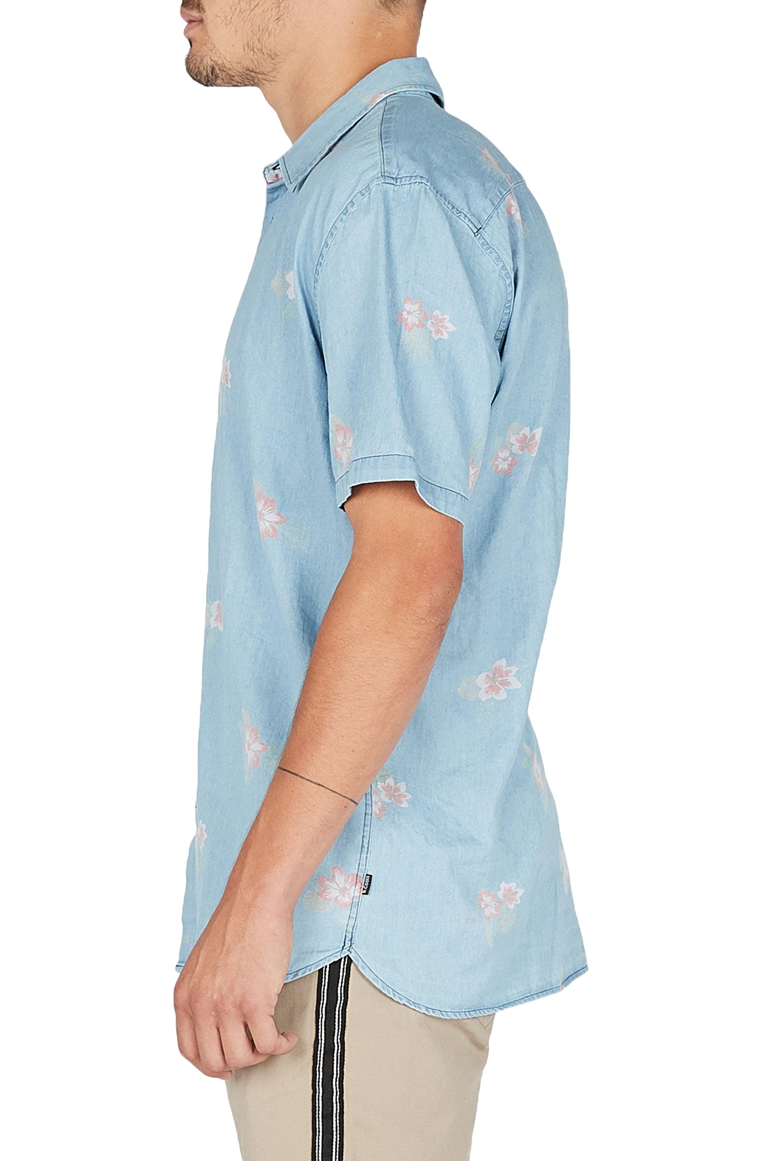 Holiday Woven Shirt,                             Alternate thumbnail 4, color,                             Indigo/ Floral