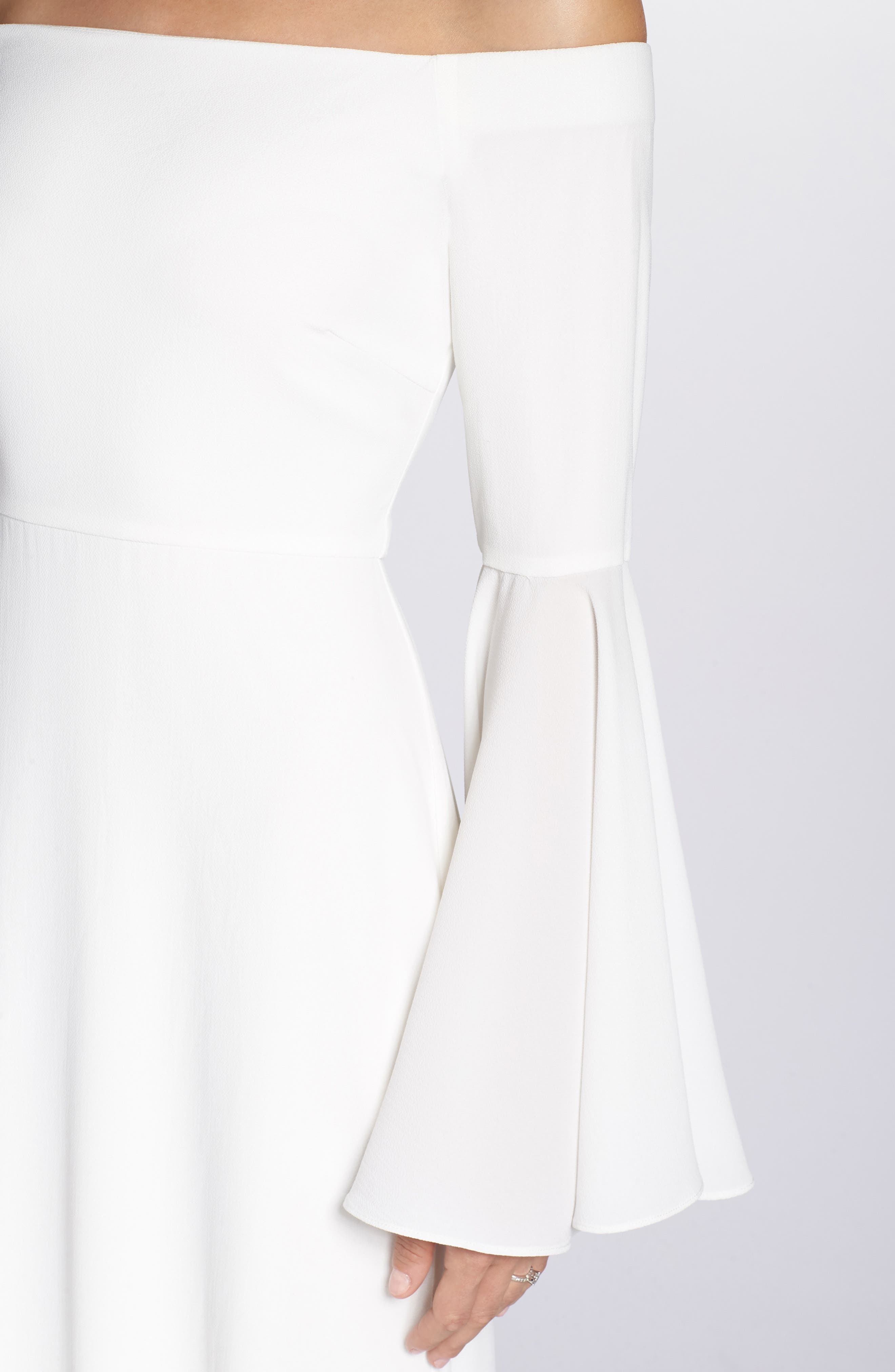 Bowie Off the Shoulder Bell Sleeve Gown,                             Alternate thumbnail 4, color,                             White