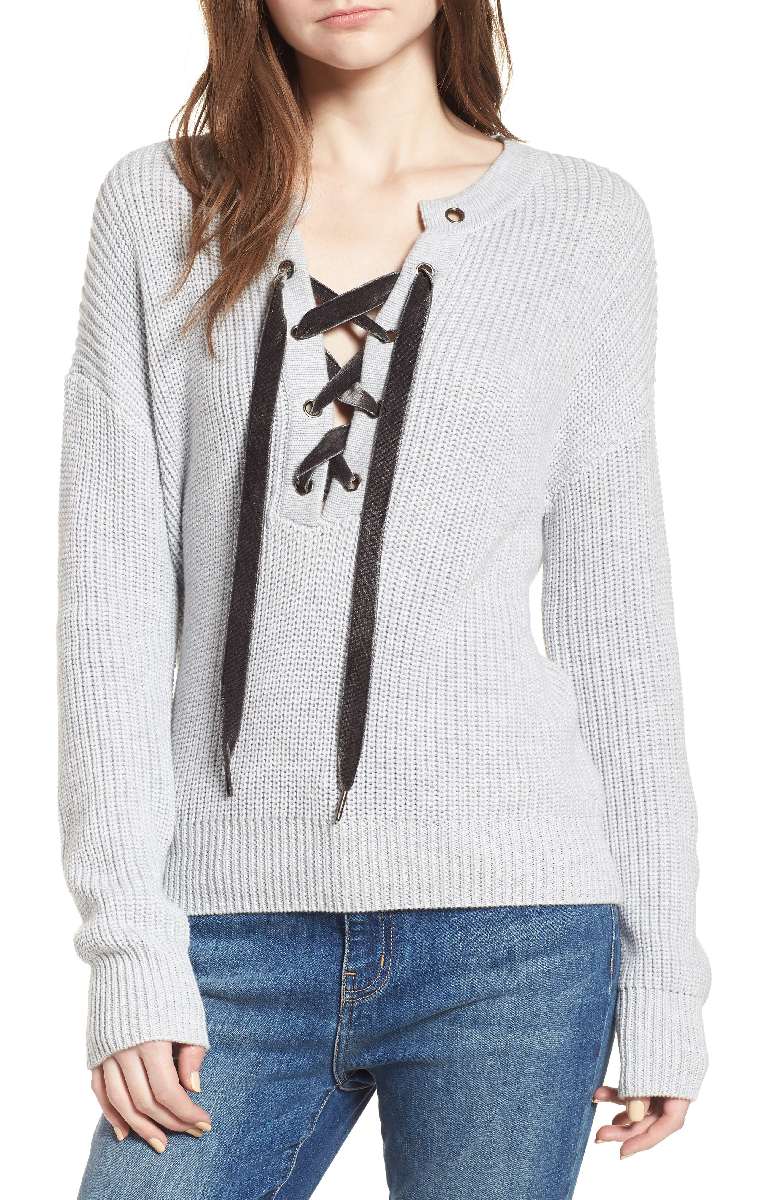 Olivia Lace-Up Sweater,                             Main thumbnail 1, color,                             Heather Grey