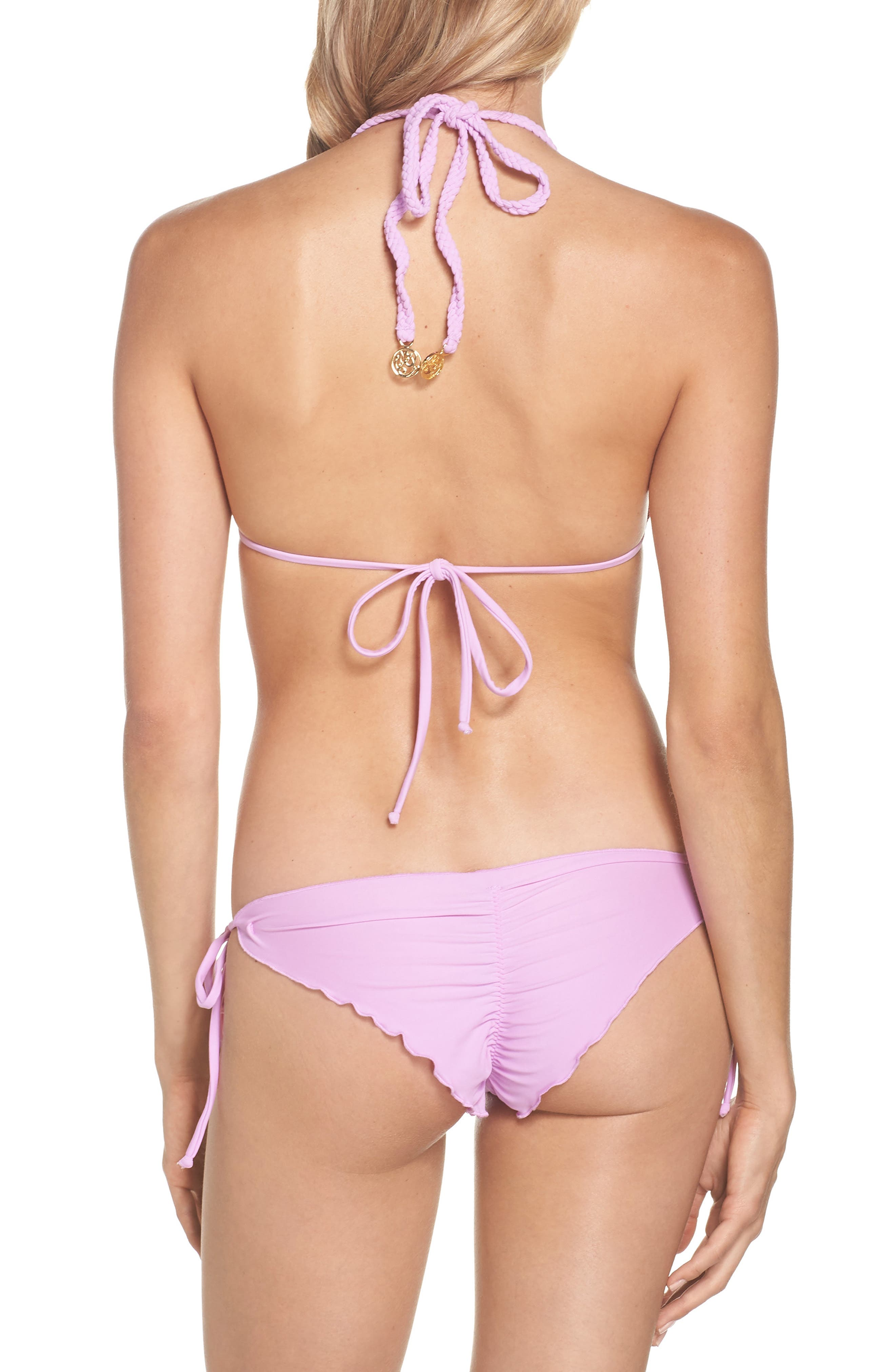 'Wavy' Brazilian Side Tie Bikini Bottoms,                             Alternate thumbnail 6, color,                             Lavanda